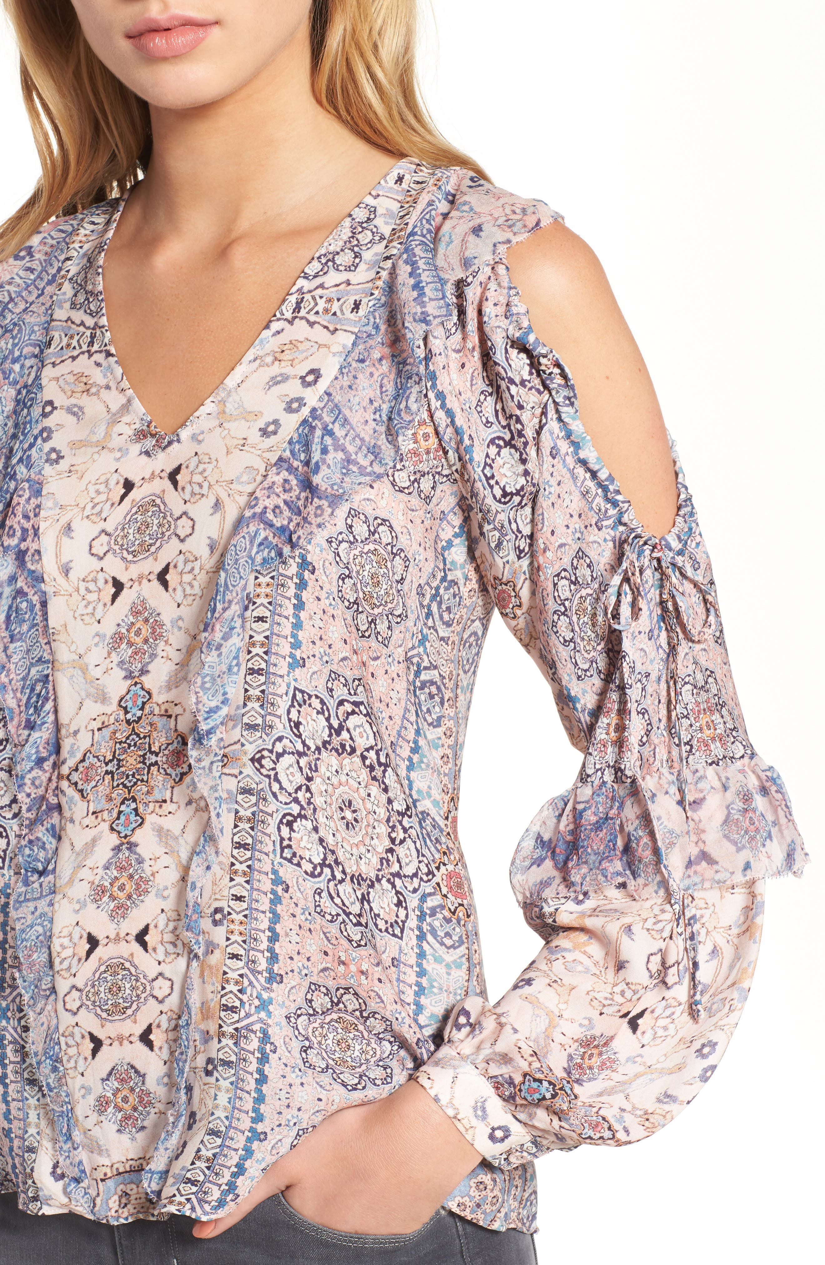 Alice Cold Shoulder Silk Blouse,                             Alternate thumbnail 4, color,                             Chambers