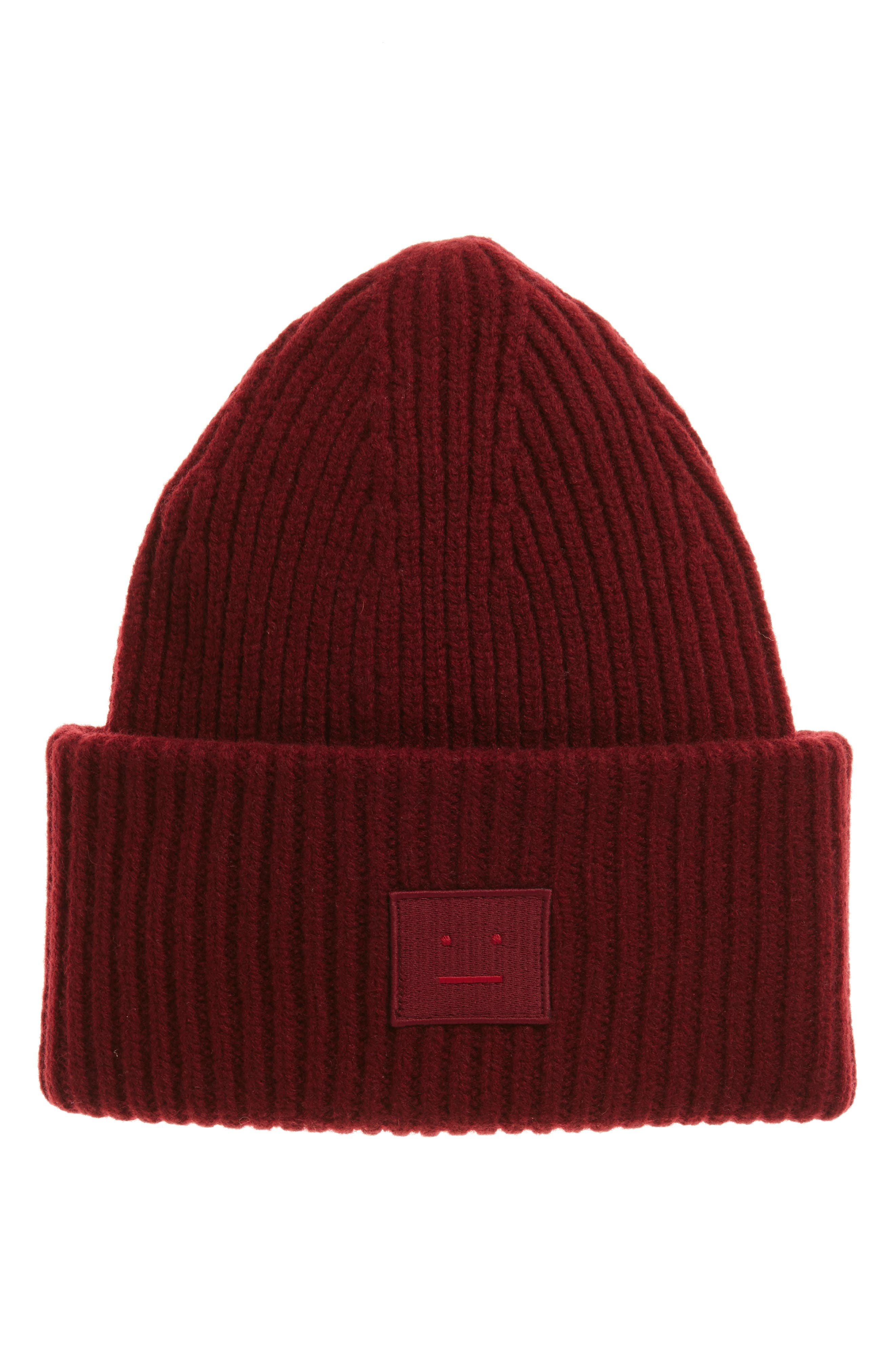 Pansy Rib Knit Wool Beanie,                         Main,                         color, Burgundy