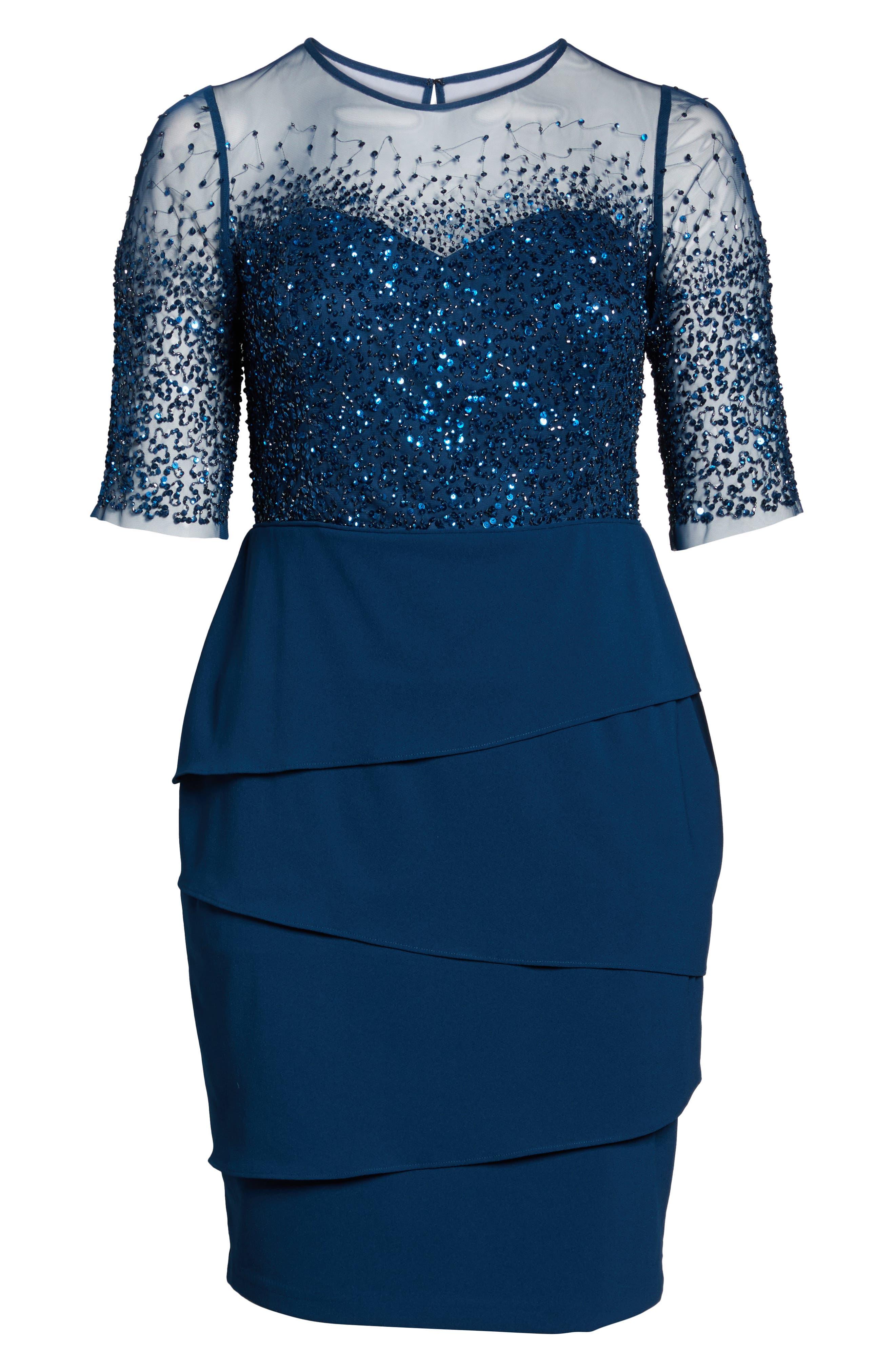 Beaded Bodice Sheath Dress,                             Alternate thumbnail 6, color,                             Deep Blue