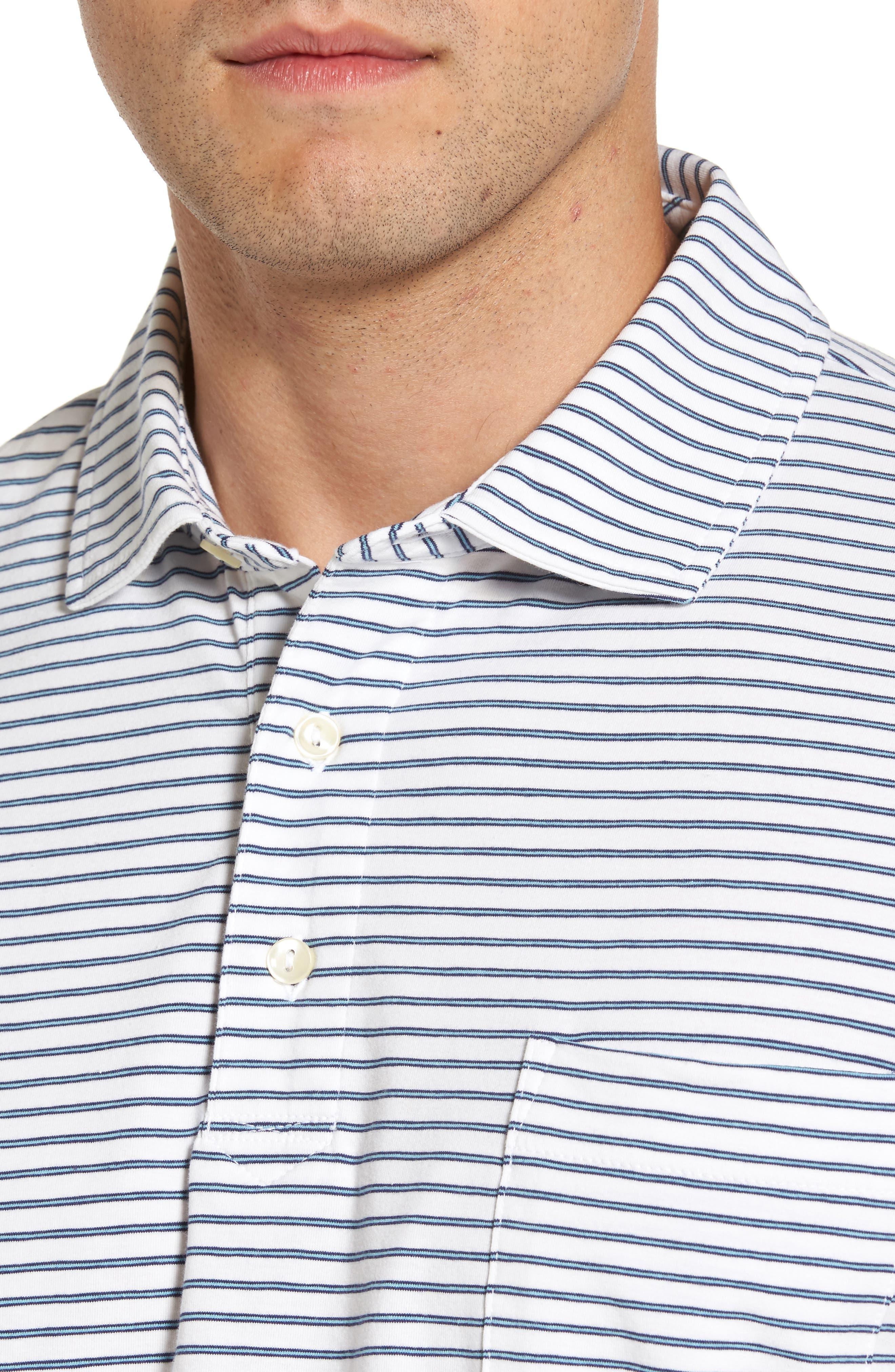 Stratton Mountainside Stripe Jersey Polo,                             Alternate thumbnail 4, color,                             White