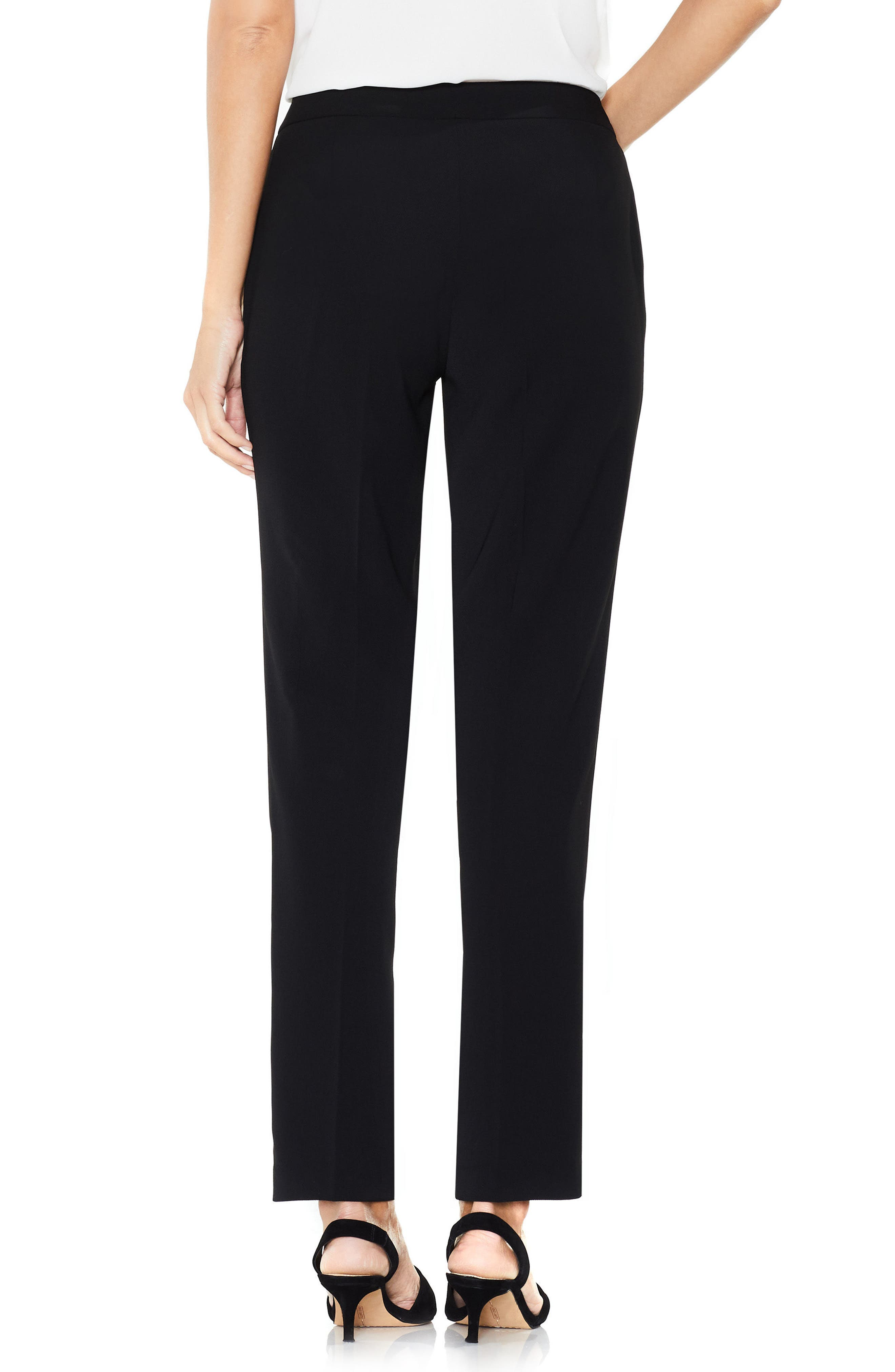 Textured Skinny Ankle Pants,                             Alternate thumbnail 3, color,                             Rich Black