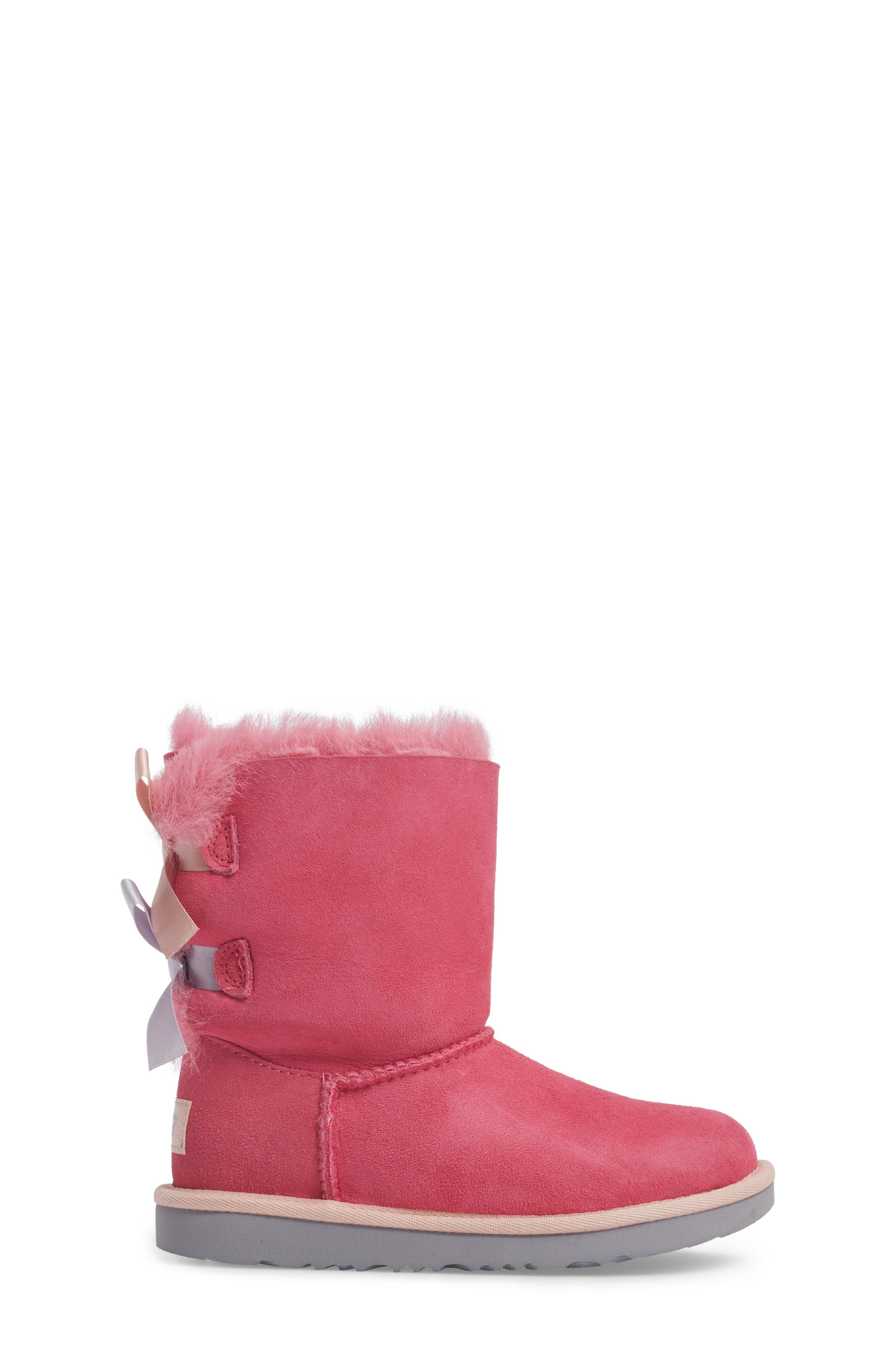 Bailey Bow II Water Resistant Genuine Shearling Boot,                             Alternate thumbnail 3, color,                             Pink/ Blue Suede