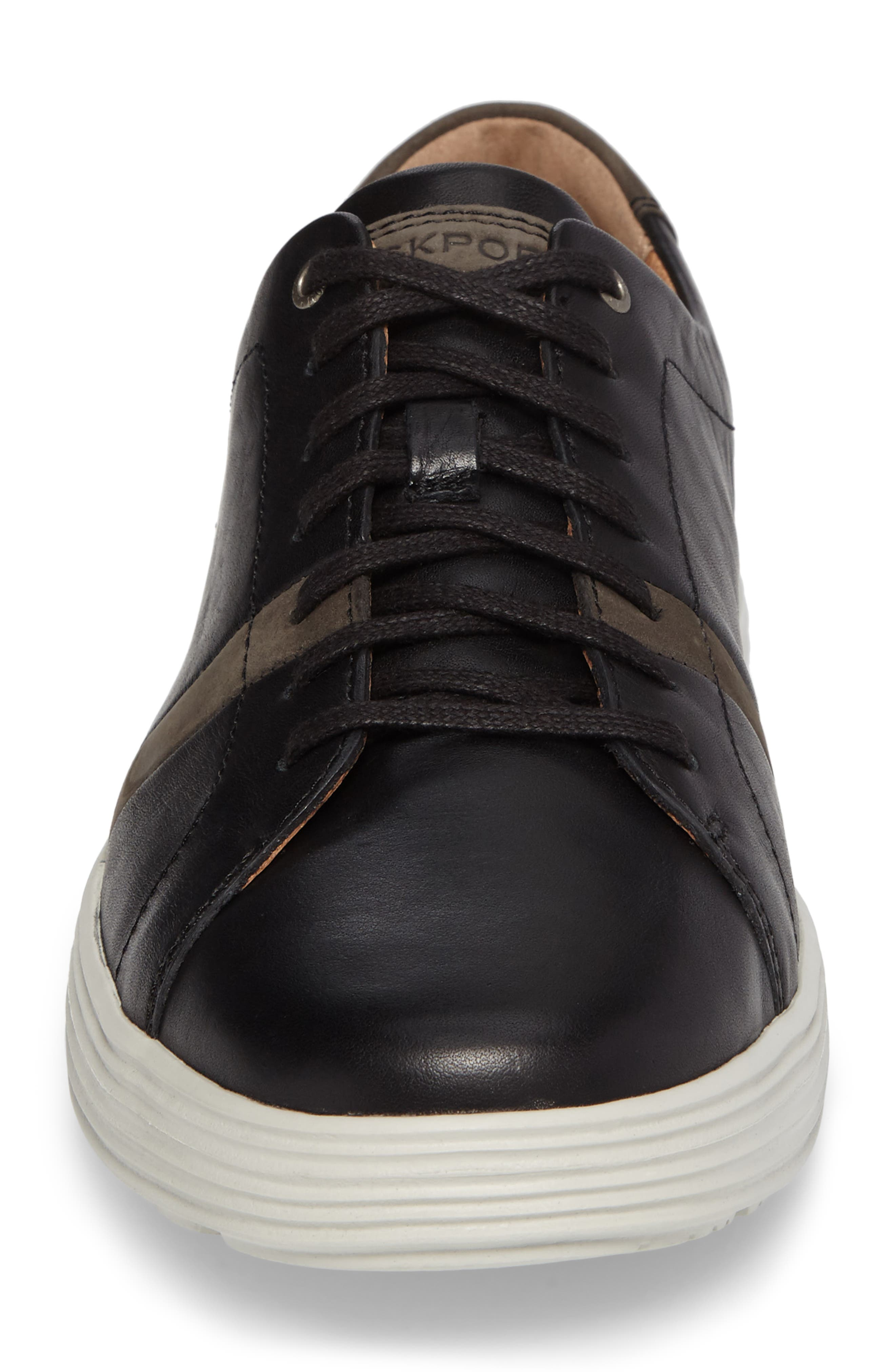 Thurston Sneaker,                             Alternate thumbnail 4, color,                             Black Leather