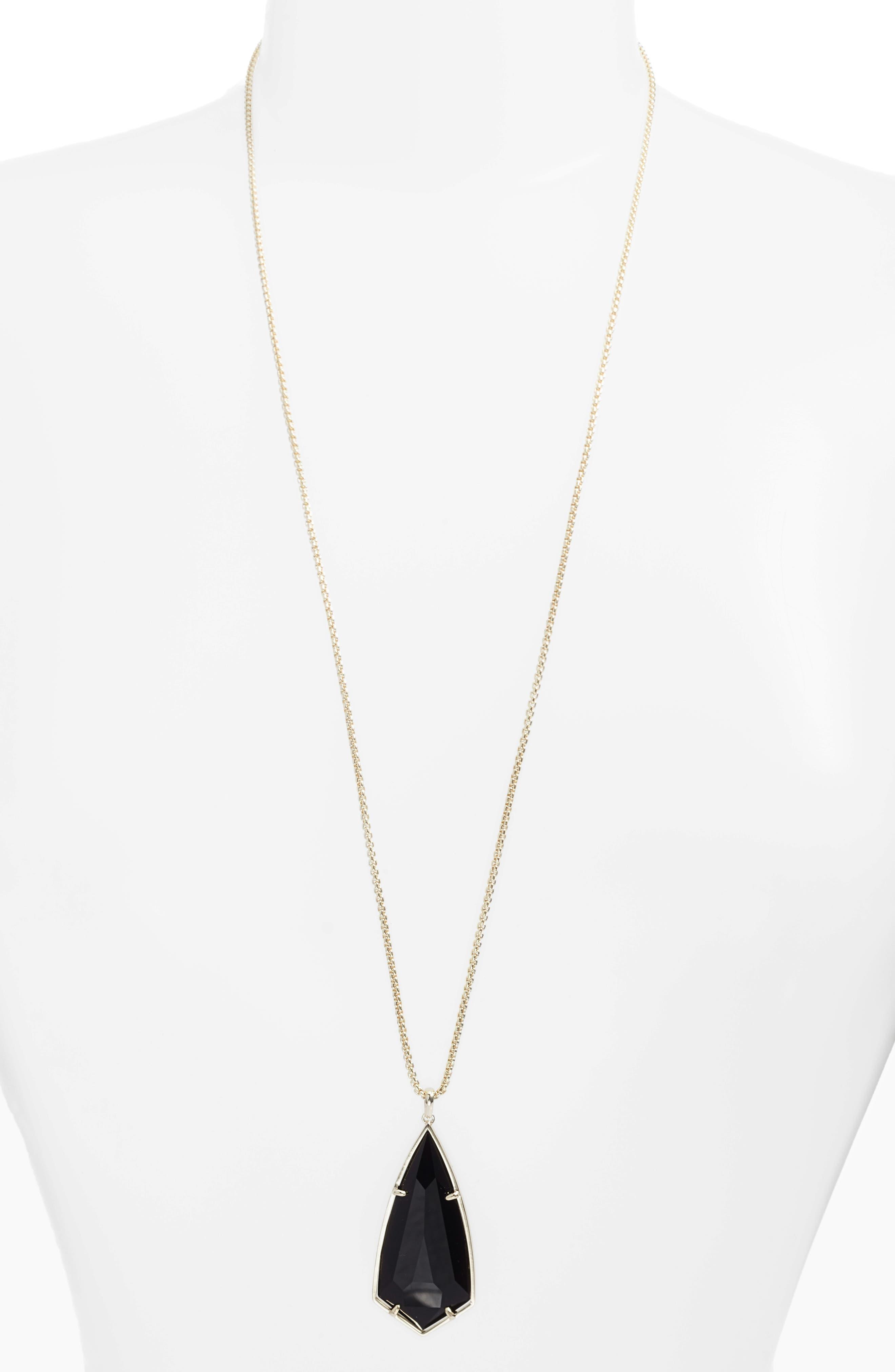 Main Image - Kendra Scott 'Carole' Long Semiprecious Stone Pendant Necklace