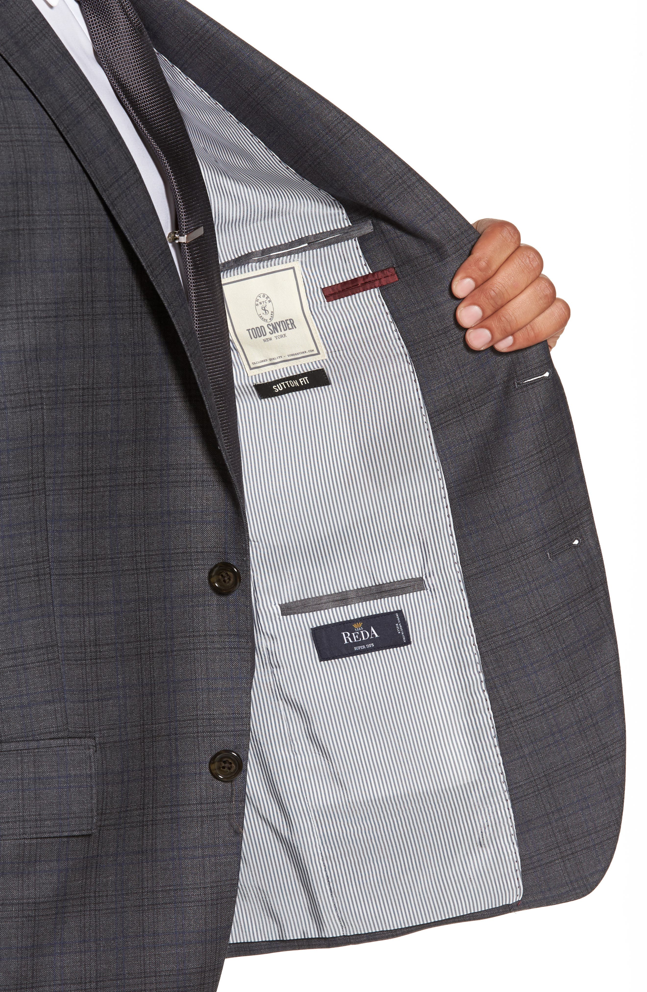 Alternate Image 4  - Todd Snyder White Label Sutton Trim Fit Plaid Wool Sport Coat