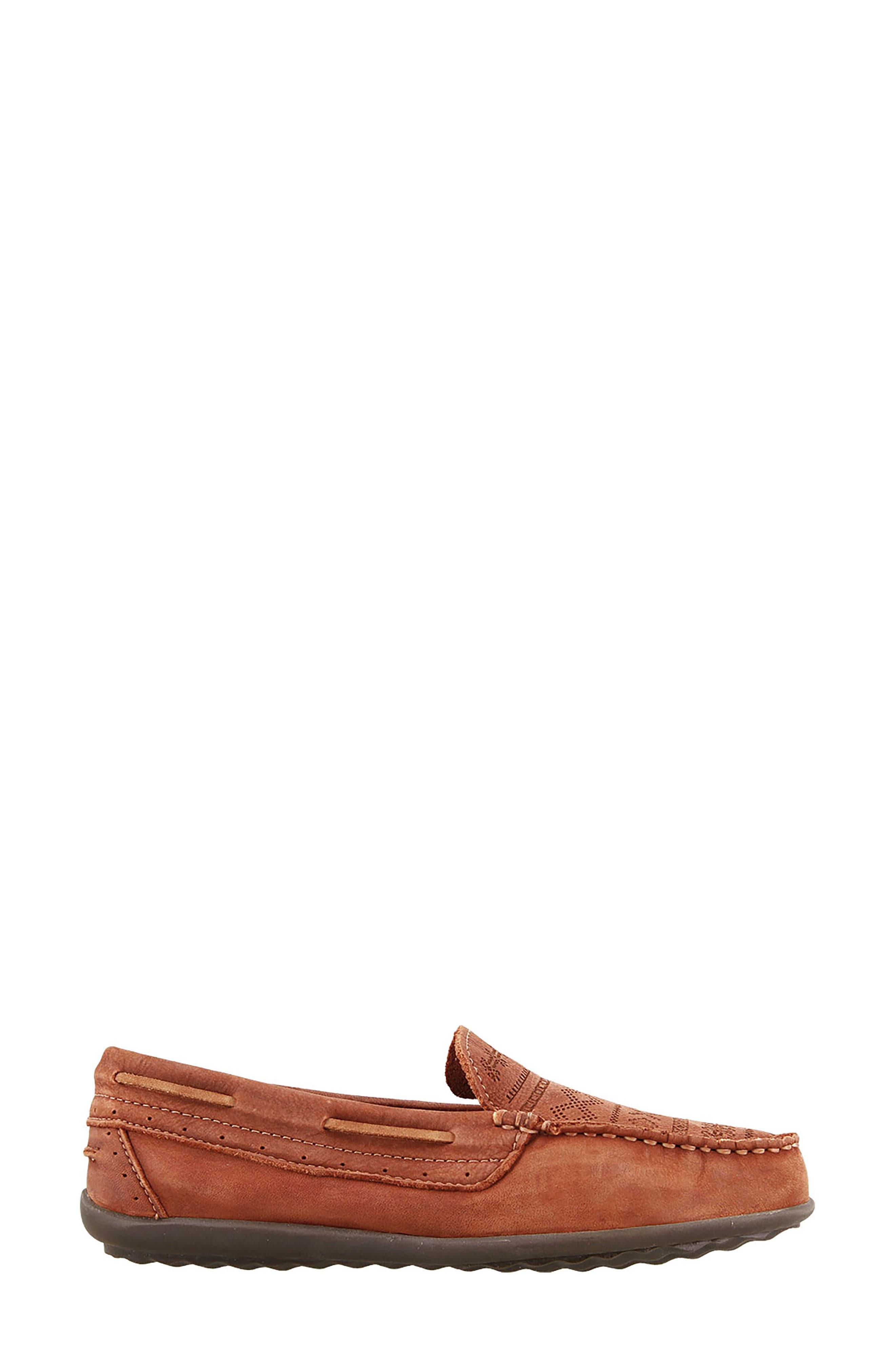 Heritage Moccasin Flat,                             Alternate thumbnail 3, color,                             Spice Red Leather