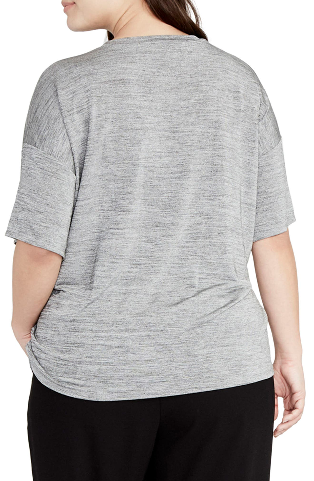 Deep V Boxy Tee,                             Alternate thumbnail 2, color,                             Heather Grey