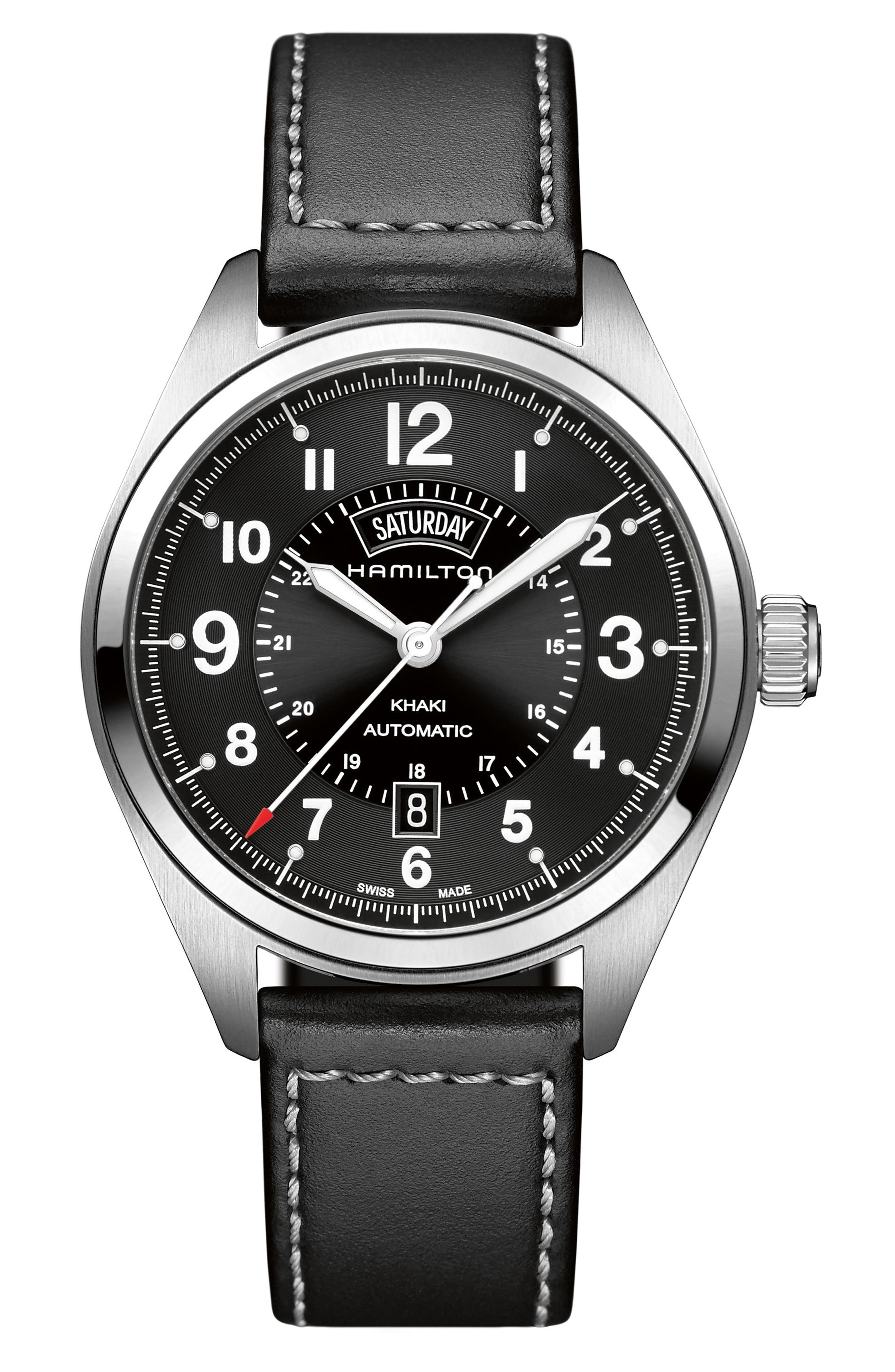 Khaki Field Automatic Leather Strap Watch, 42mm,                         Main,                         color, Black/ Silver