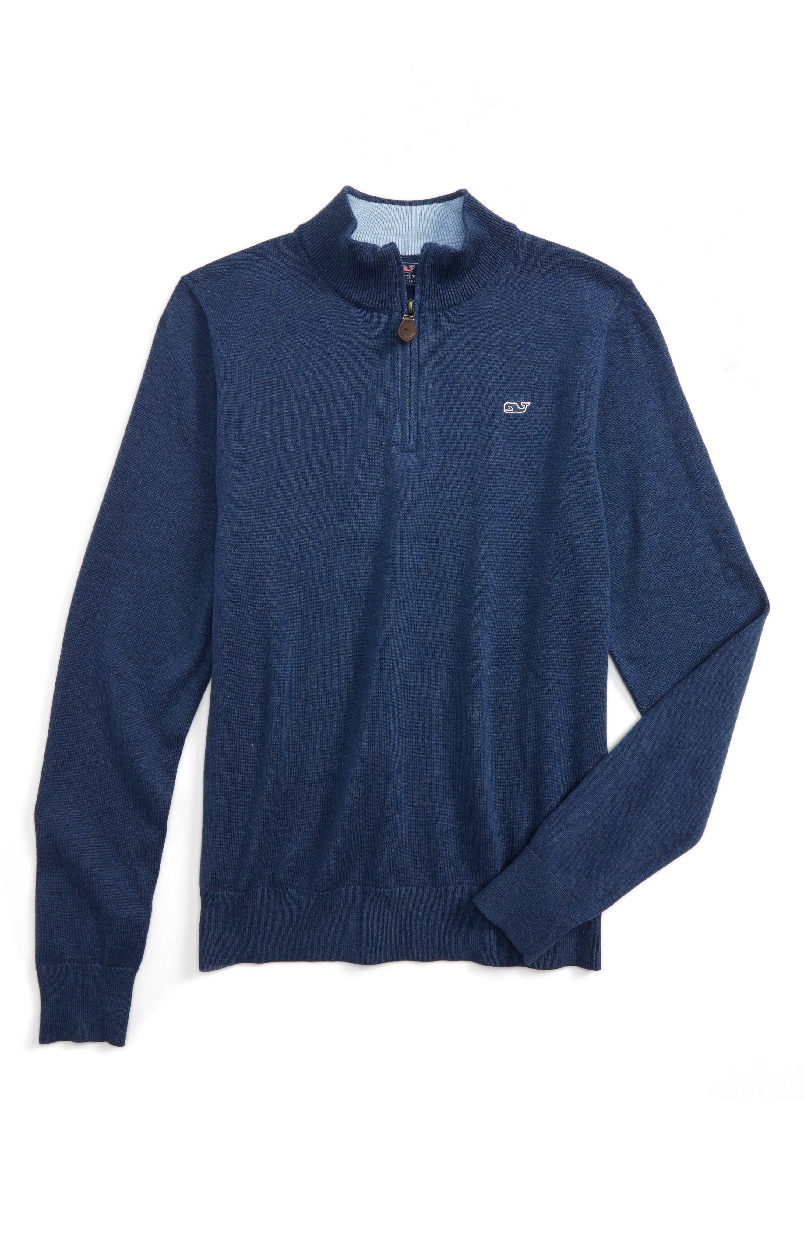 Classic Quarter Zip Sweater,                             Main thumbnail 1, color,                             Deep Bay