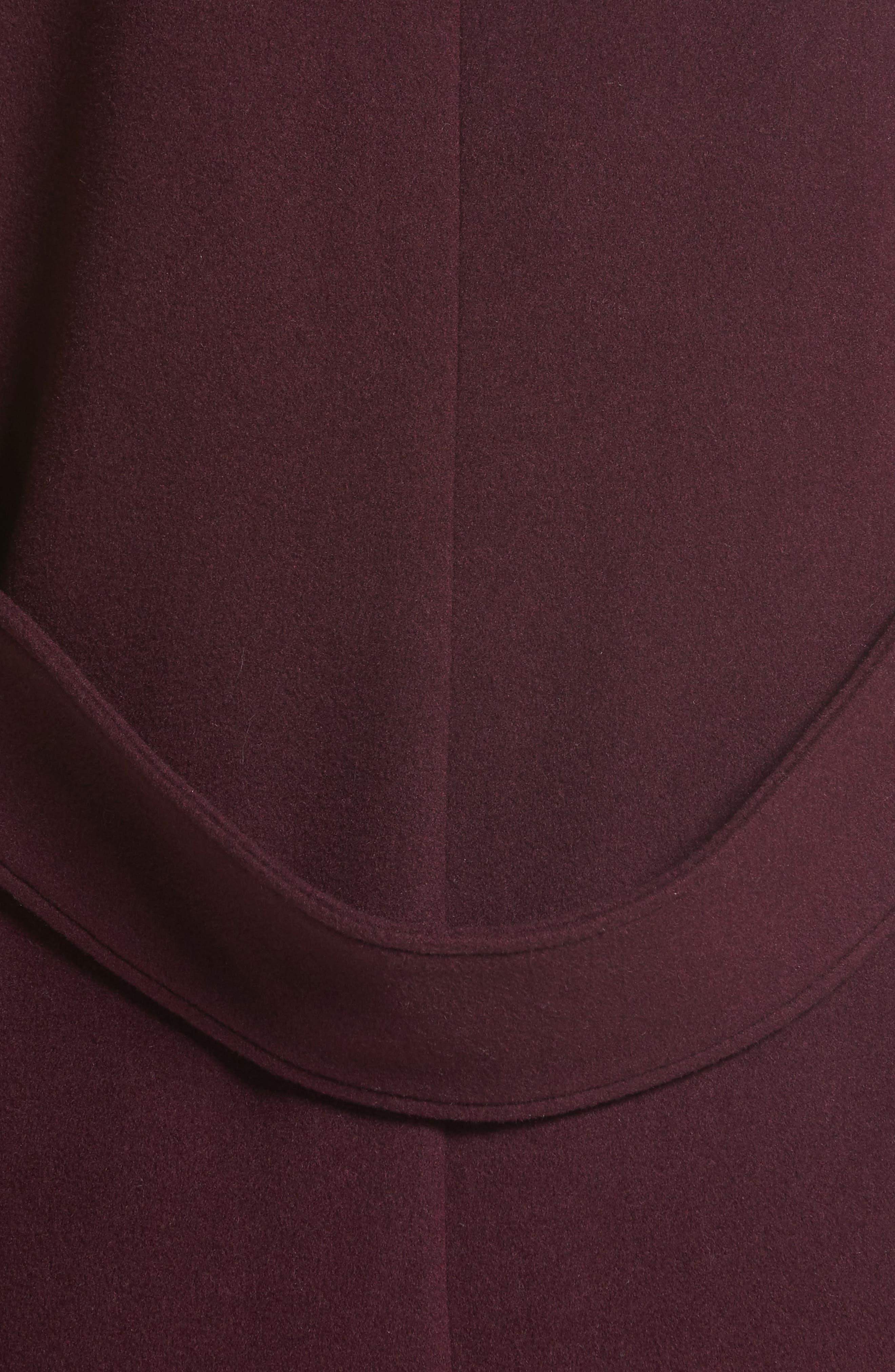 Cairndale Knit Trim Cashmere Coat,                             Alternate thumbnail 7, color,                             Black Currant