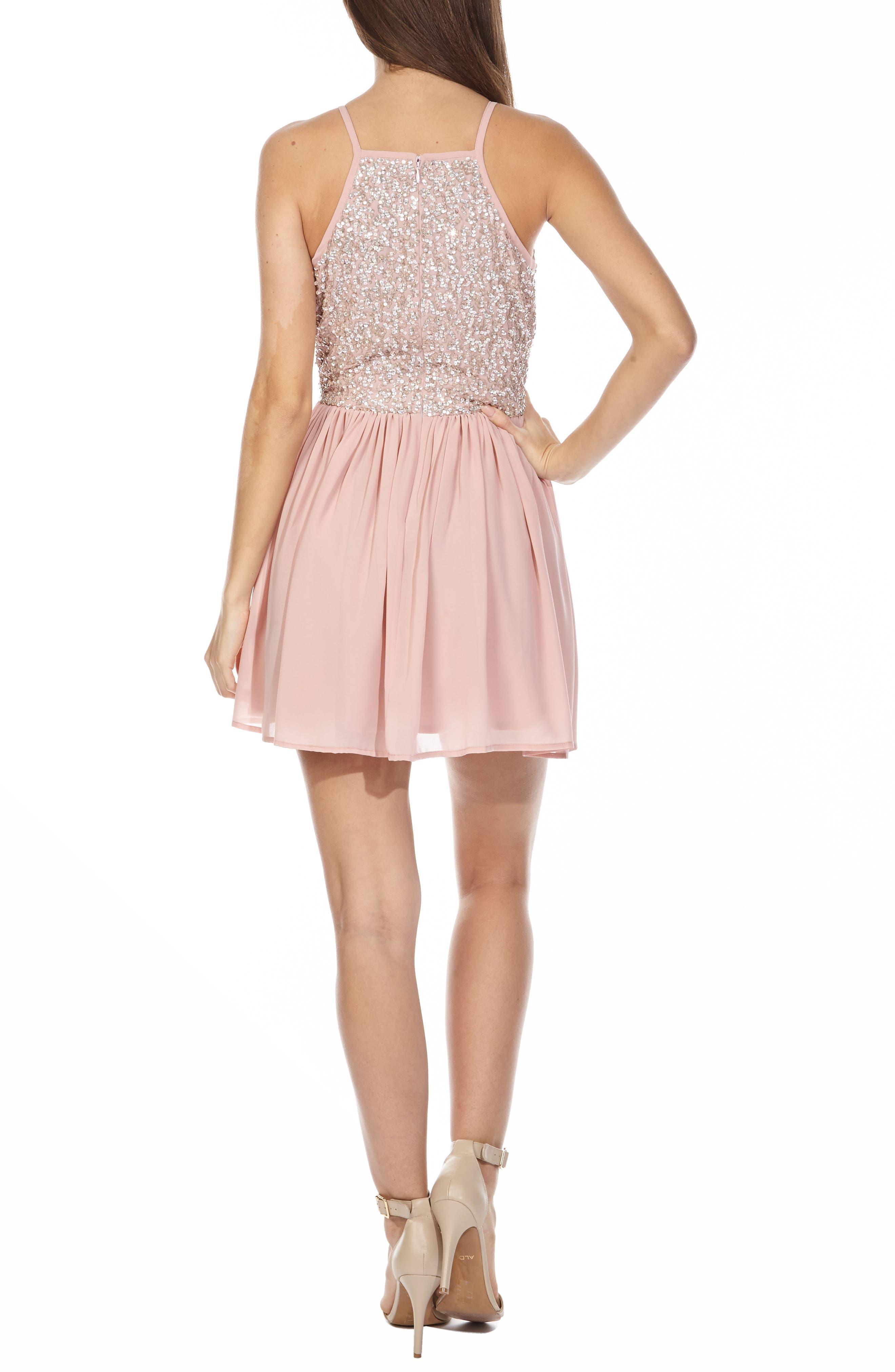 Alternate Image 2  - Lace & Beads Sprinkle Sequin Skater Dress