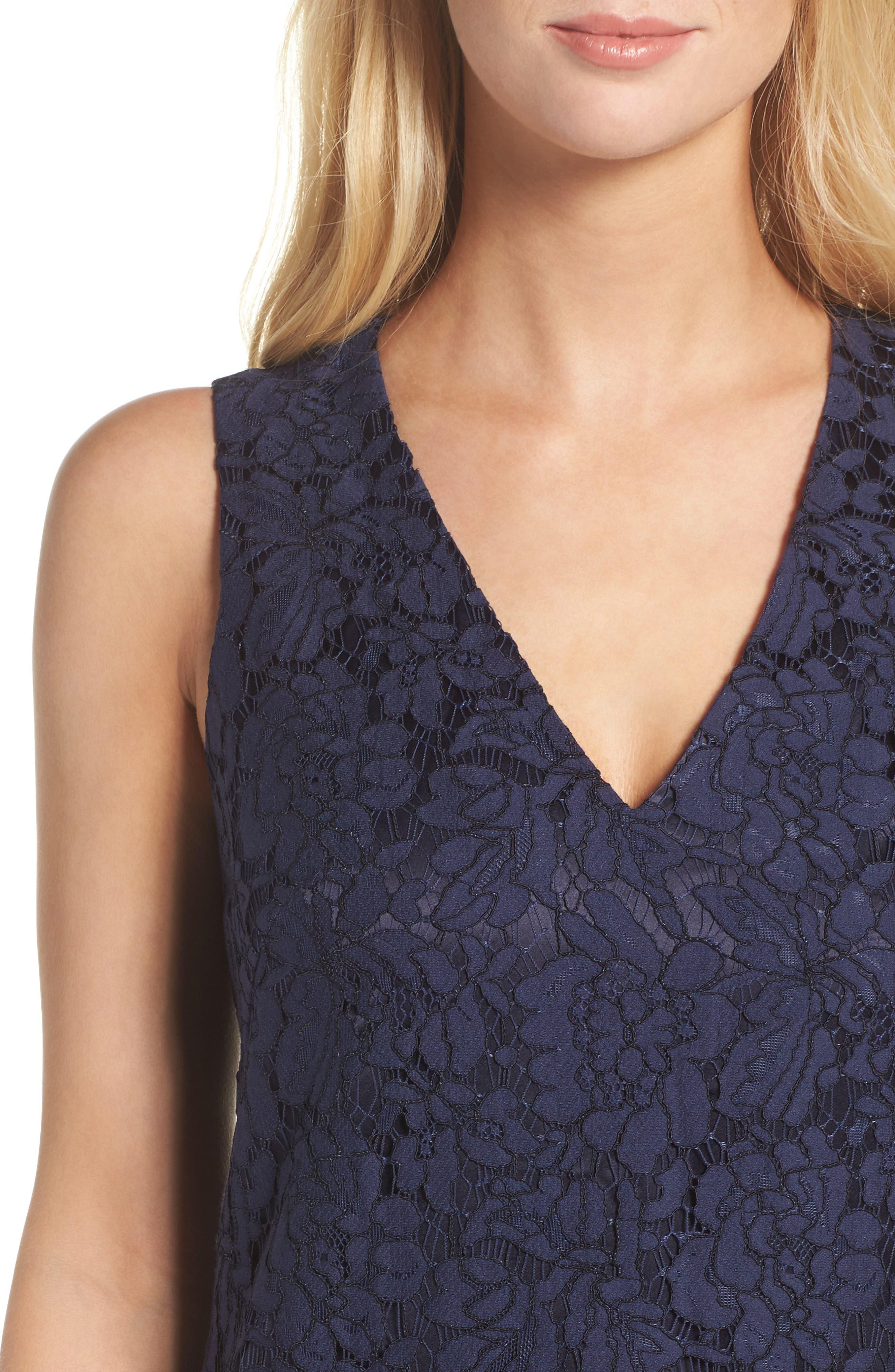 Ruffle Lace Shift Dress,                             Alternate thumbnail 4, color,                             Navy