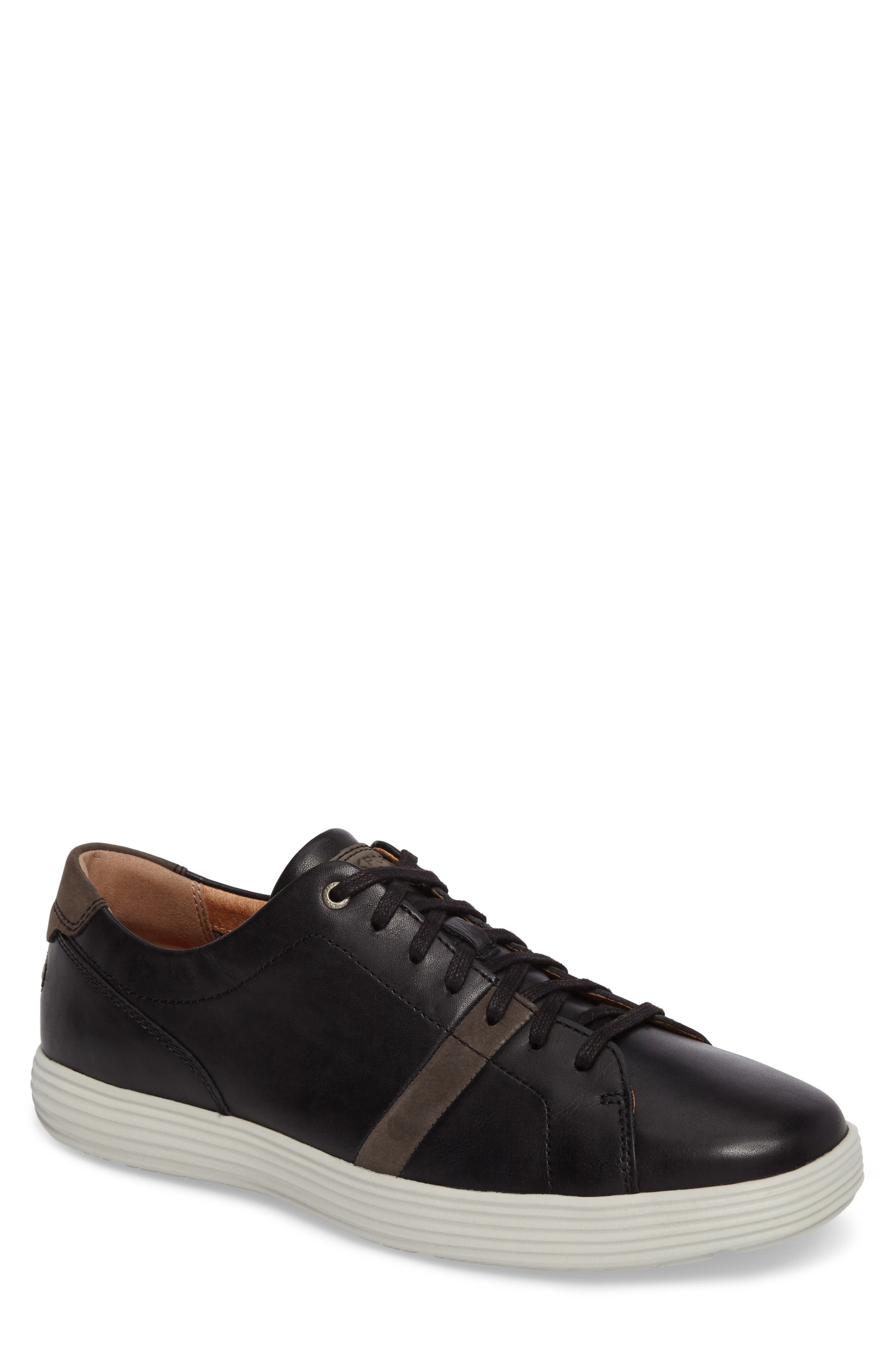Thurston Sneaker,                         Main,                         color, Black Leather