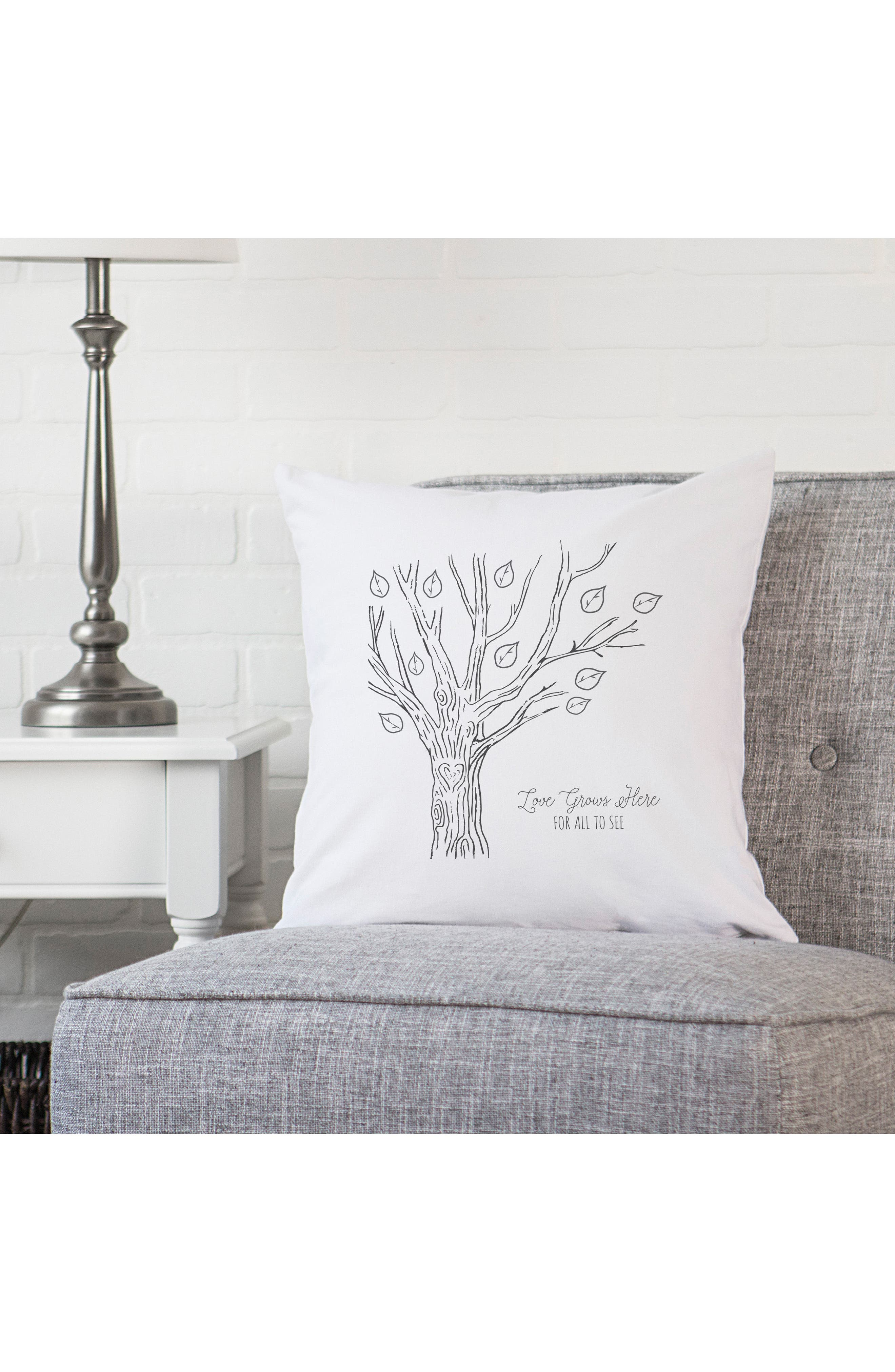 Family Tree Accent Pillow,                             Alternate thumbnail 3, color,                             Black