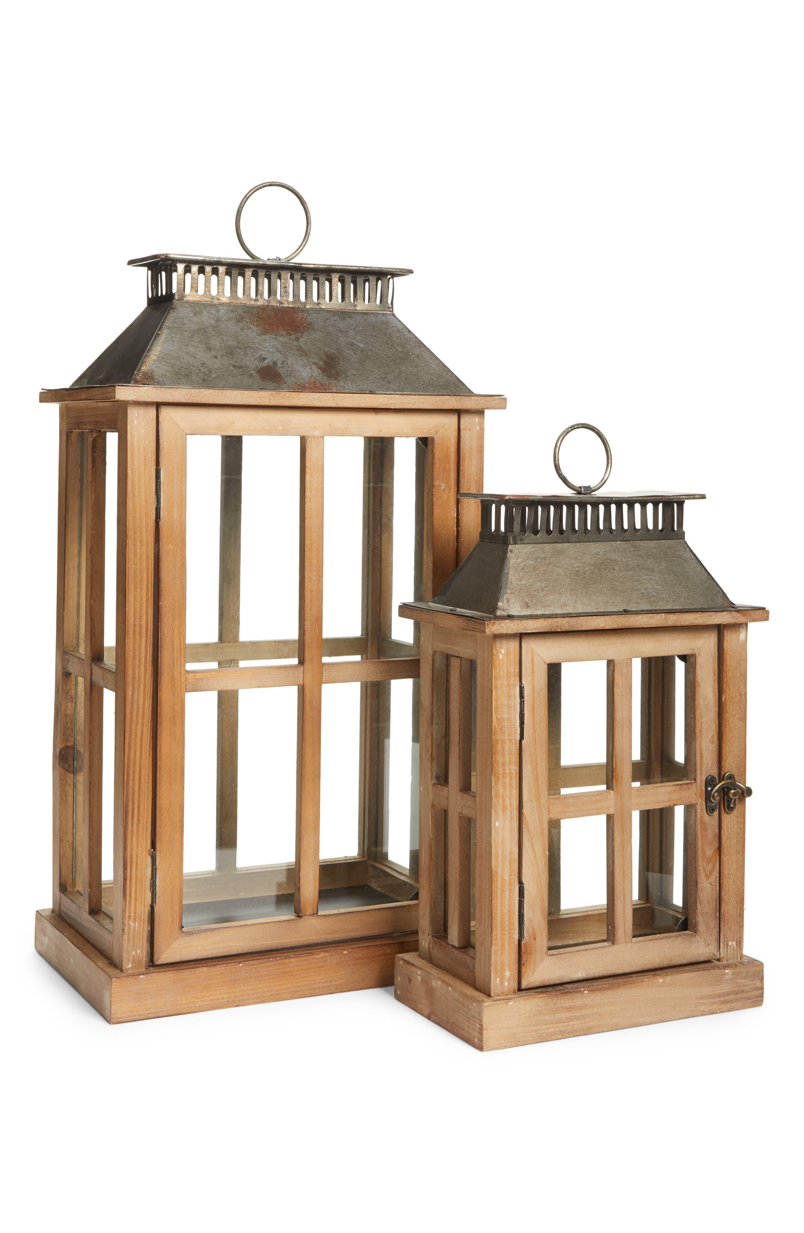 Decorative Wood & Metal Lantern,                         Main,                         color, Brown
