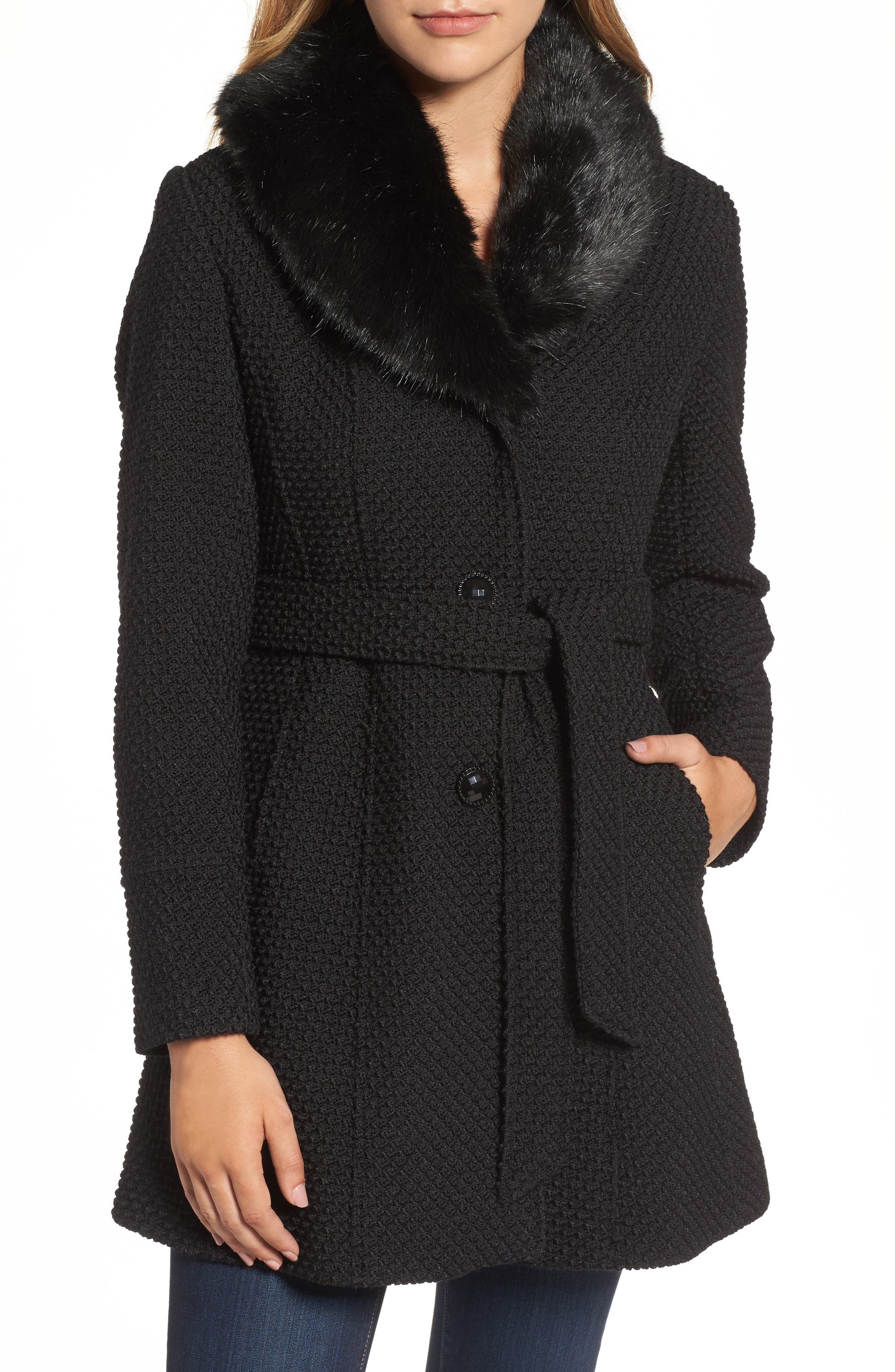 Belted Coat with Faux Fur Collar,                         Main,                         color, Black