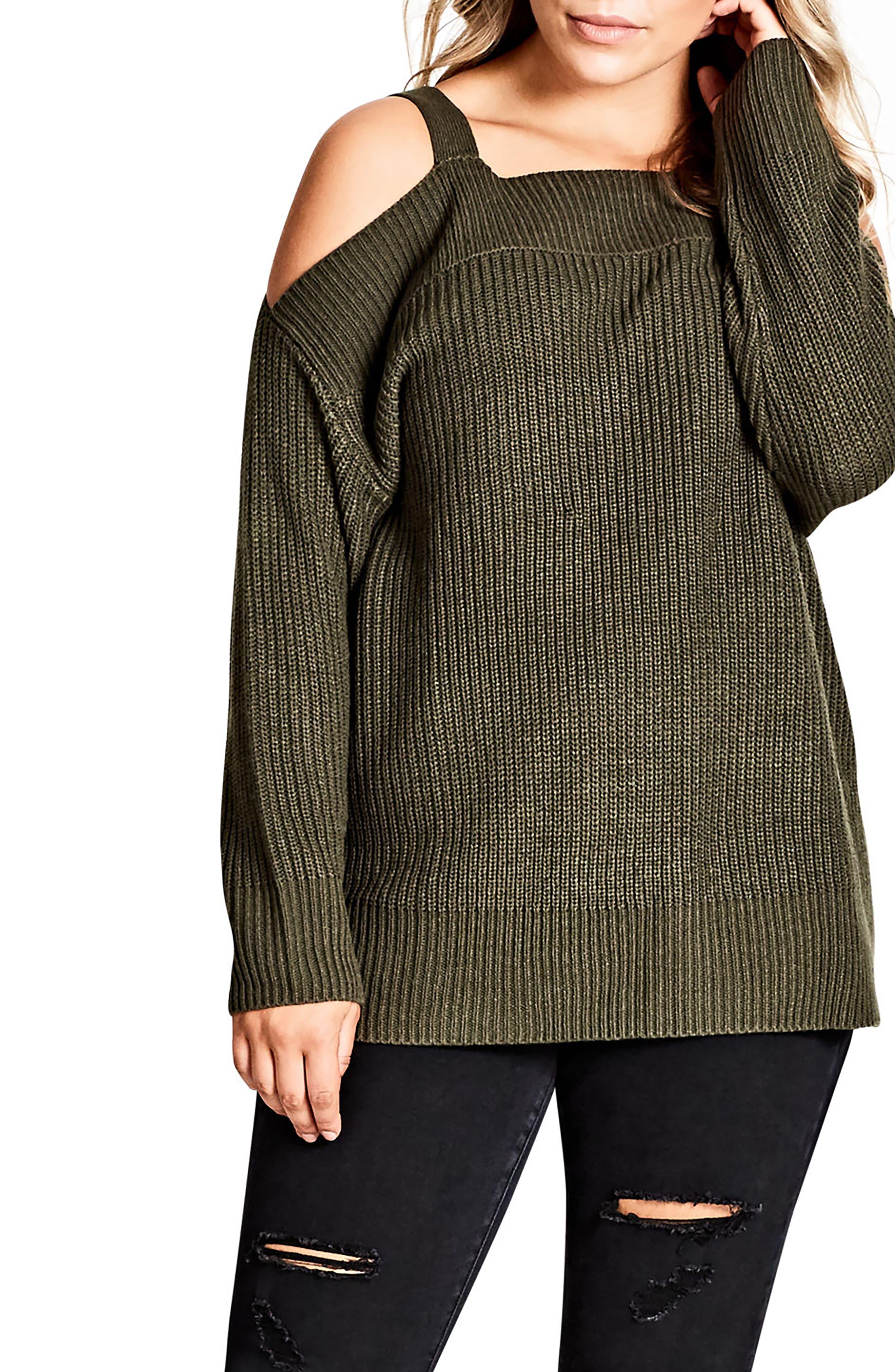 Off the Shoulder Sweater,                         Main,                         color, Khaki
