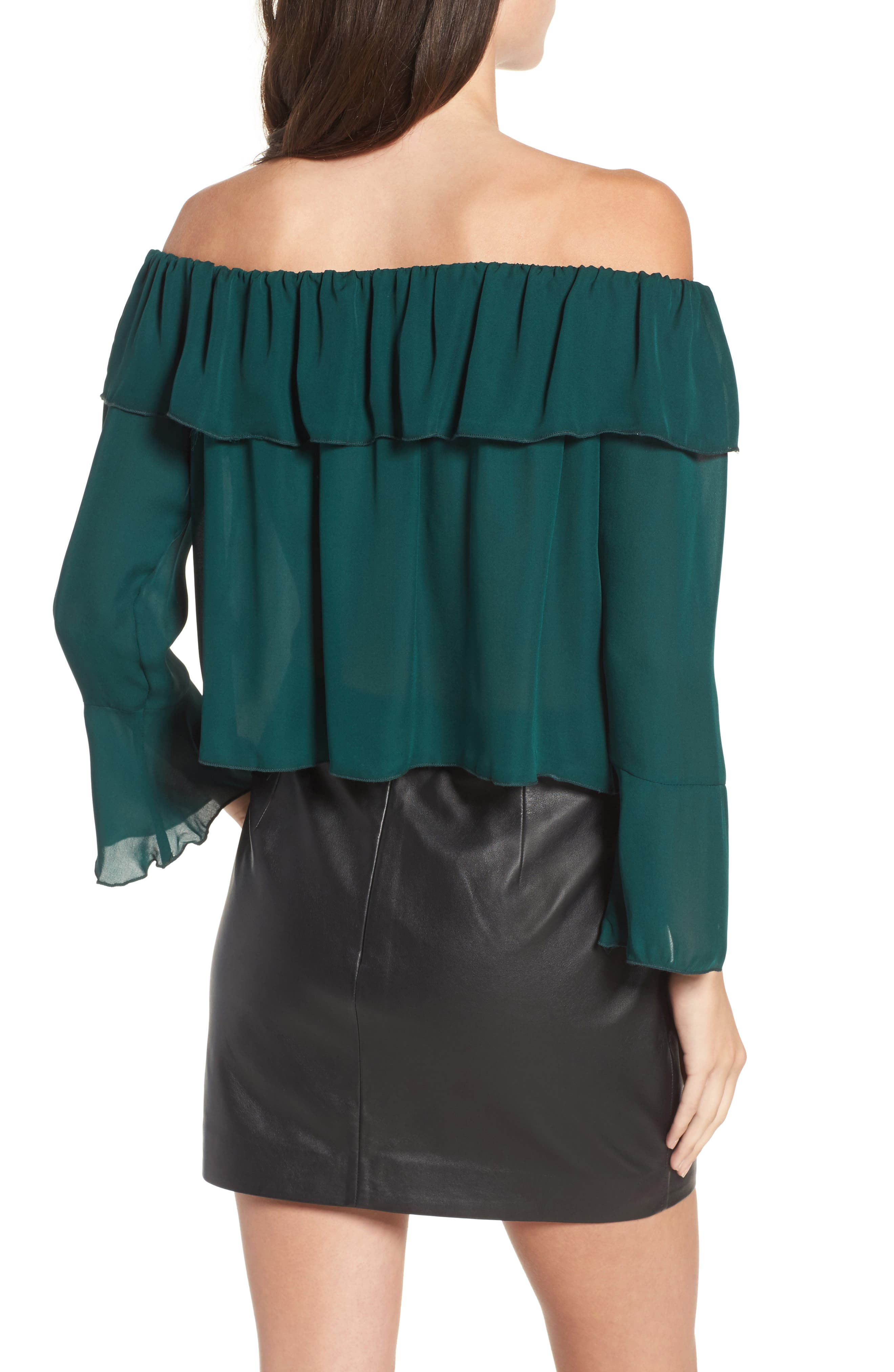 Kennedy Off the Shoulder Blouse,                             Alternate thumbnail 2, color,                             Emerald Green