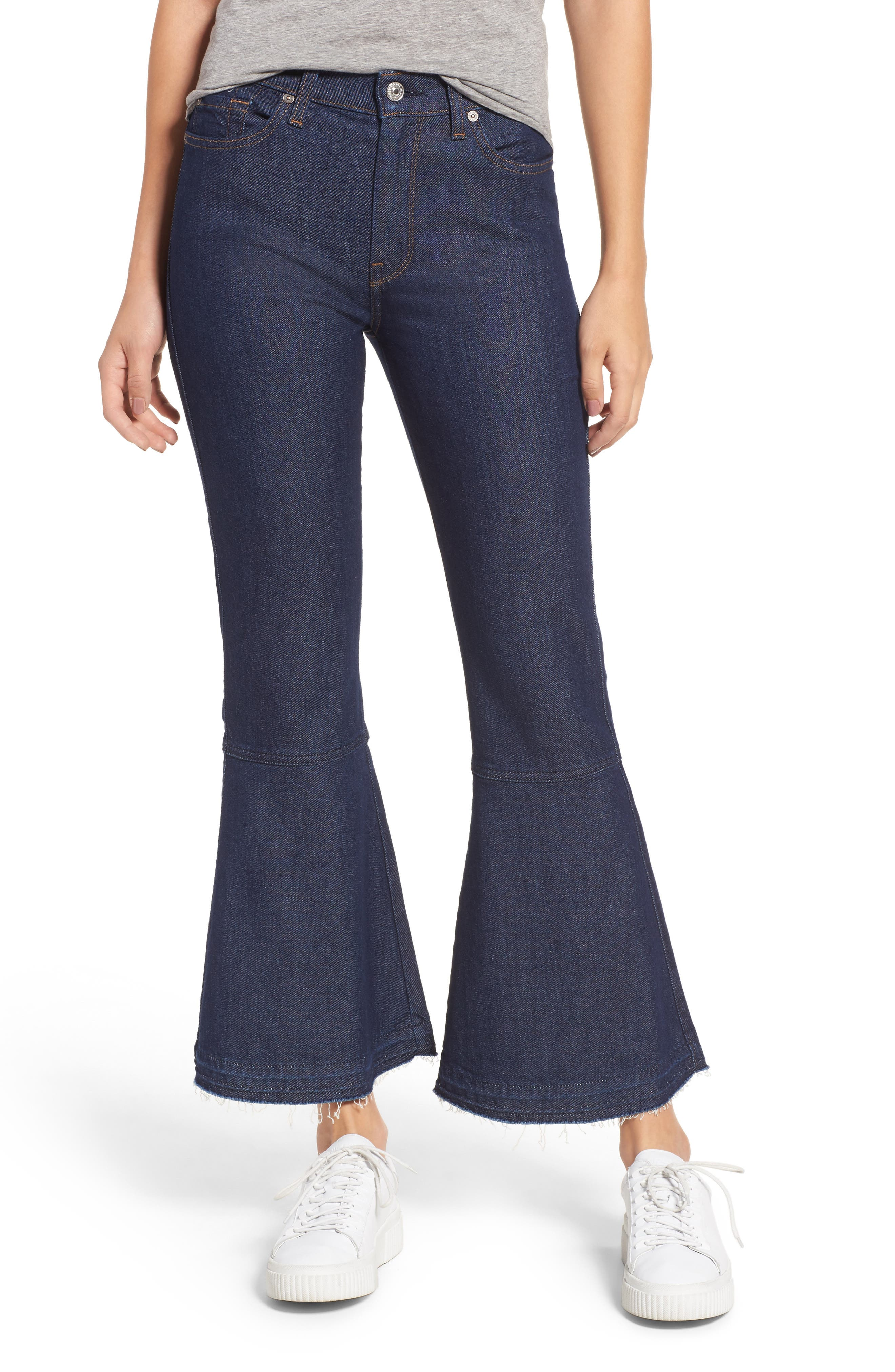 Priscilla High Waist Crop Flare Jeans,                         Main,                         color, Wilshire Rinse