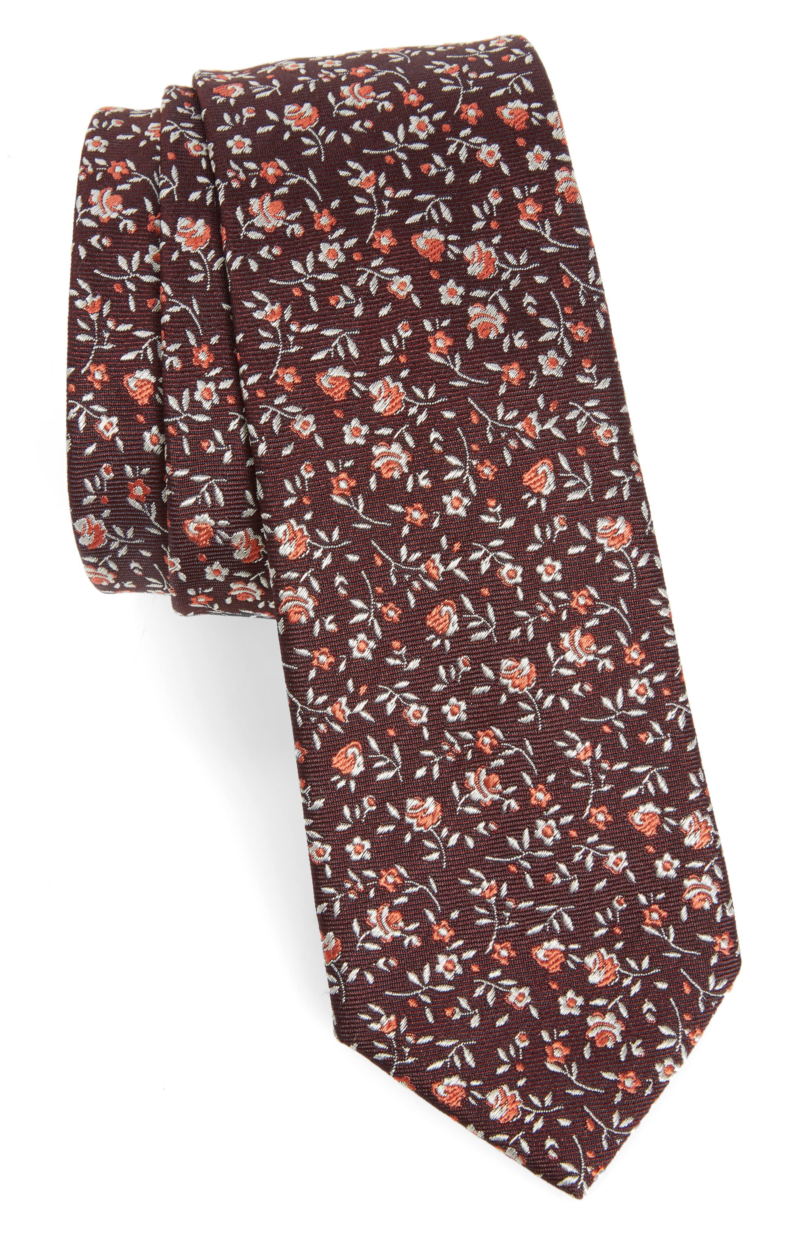 Floral Silk Skinny Tie,                         Main,                         color, Black/ Red