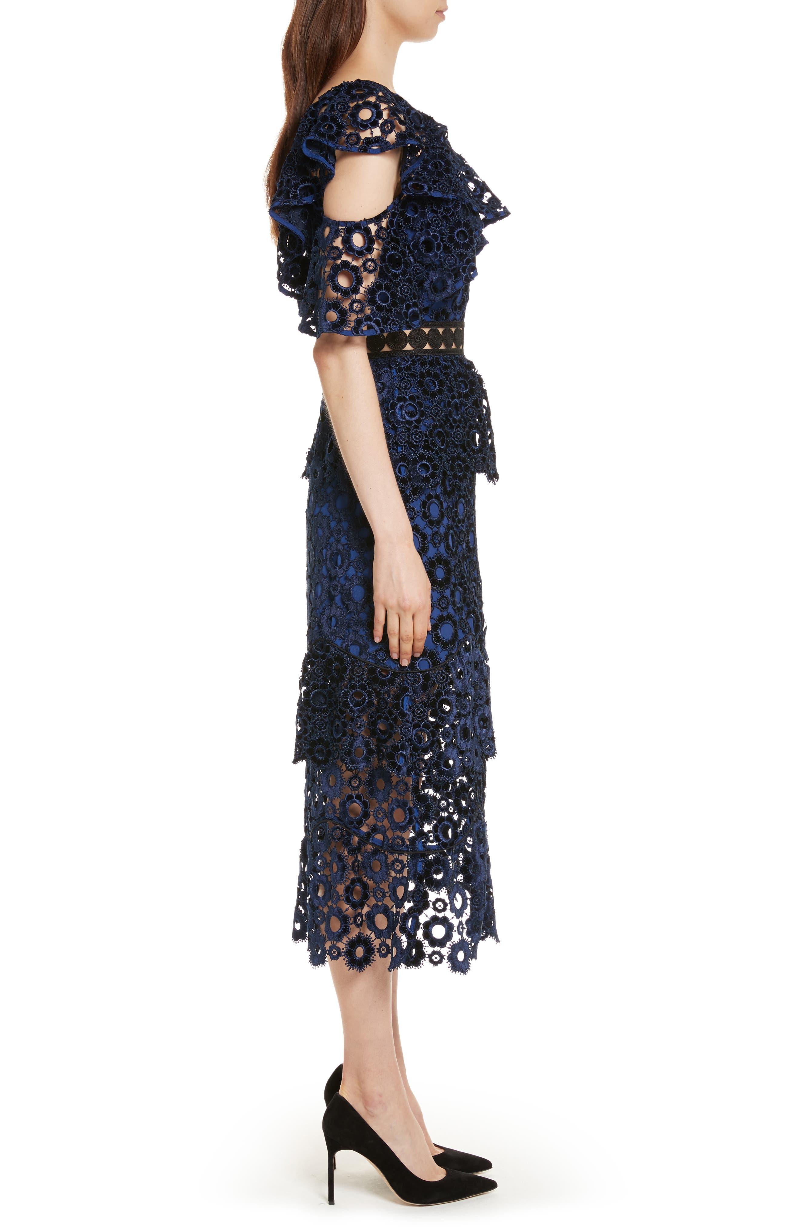 Lace One-Shoulder Midi Dress,                             Alternate thumbnail 3, color,                             Blue
