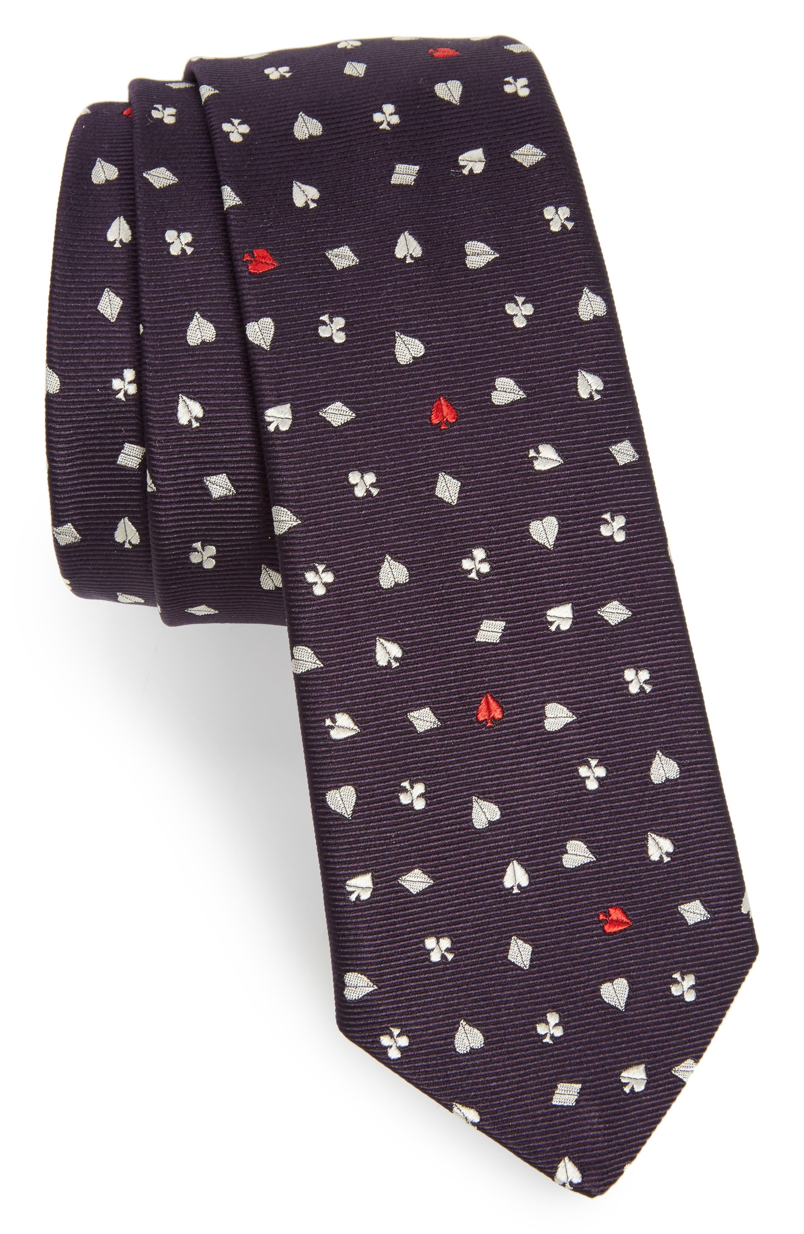 Poker Silk Skinny Tie,                         Main,                         color, Navy