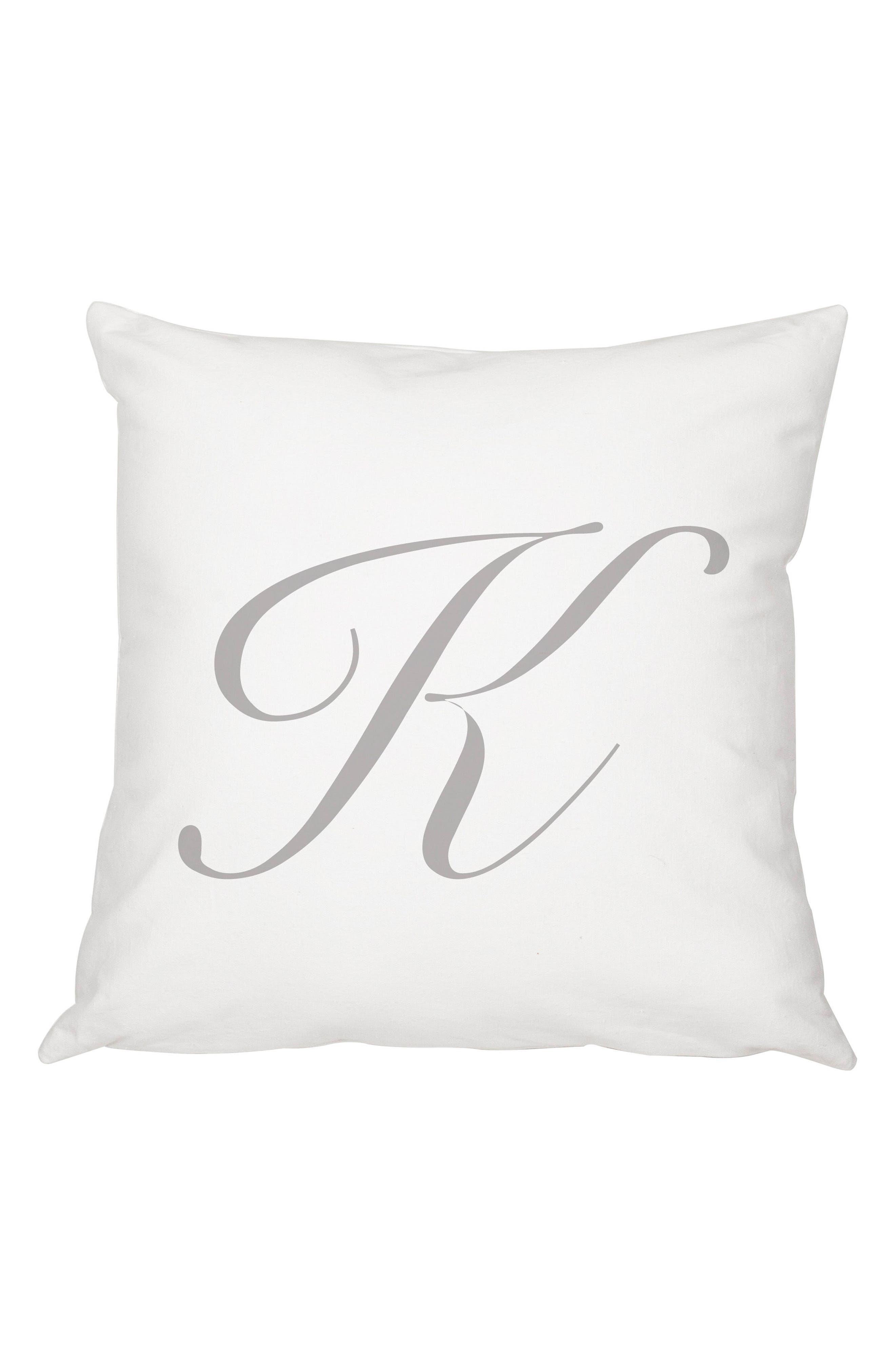Script Monogram Accent Pillow,                             Main thumbnail 1, color,                             Grey-K