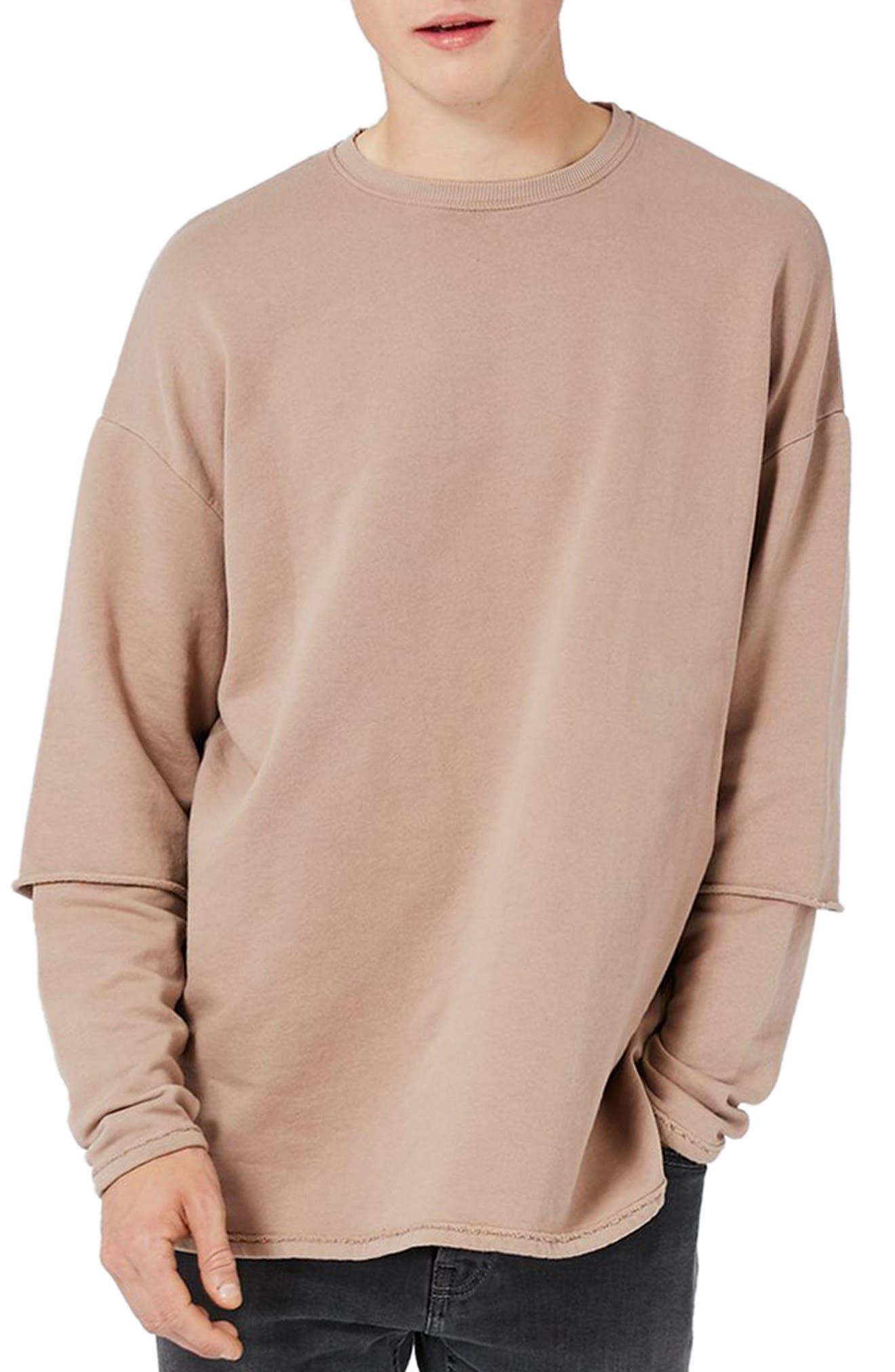 Layer Sleeve Sweatshirt,                         Main,                         color, Light Brown