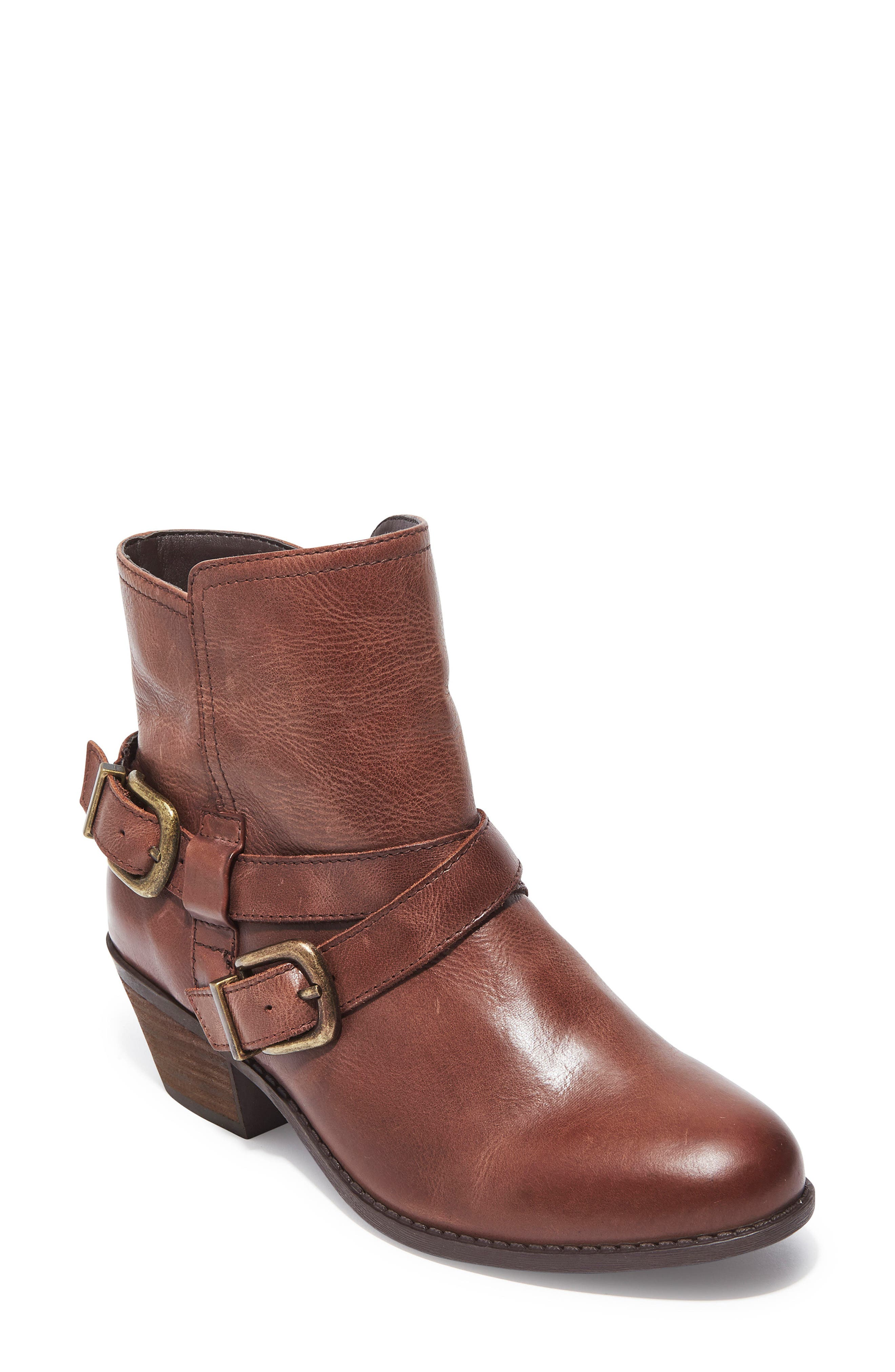 Zuri Buckle Boot,                         Main,                         color, Chocolate Leather