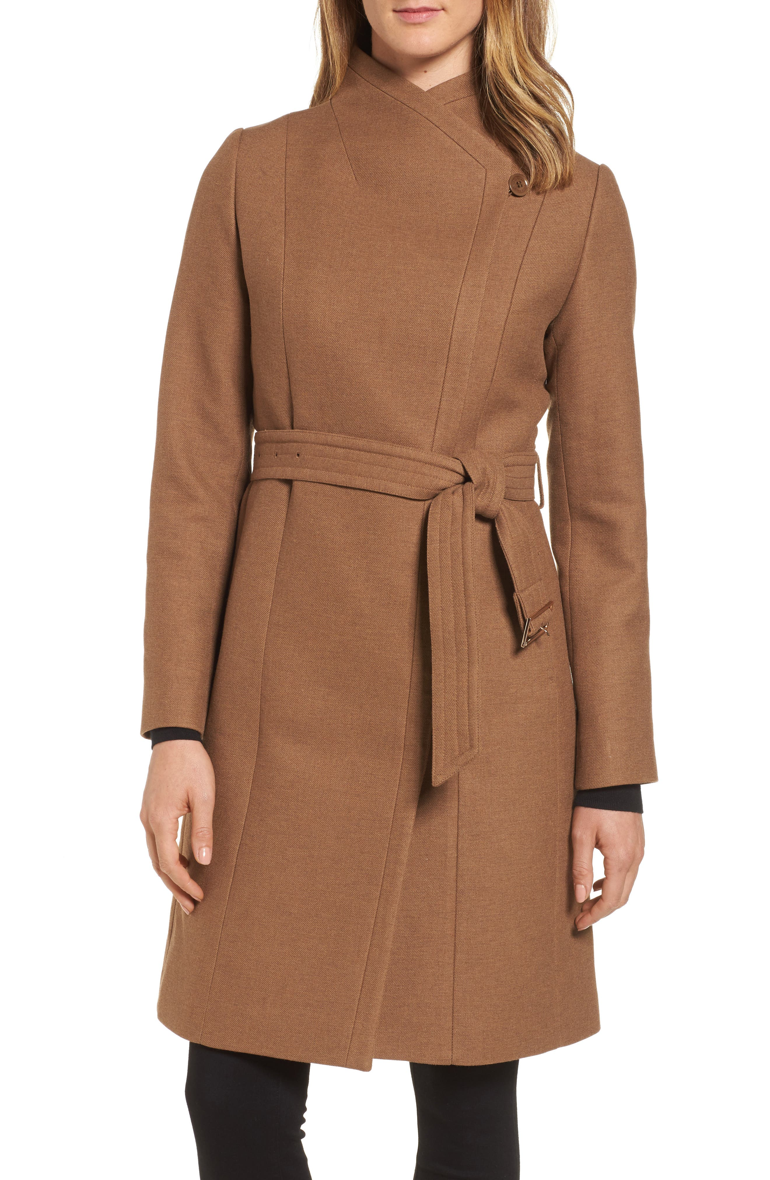 Main Image - Cole Haan Belted Double Breasted Coat