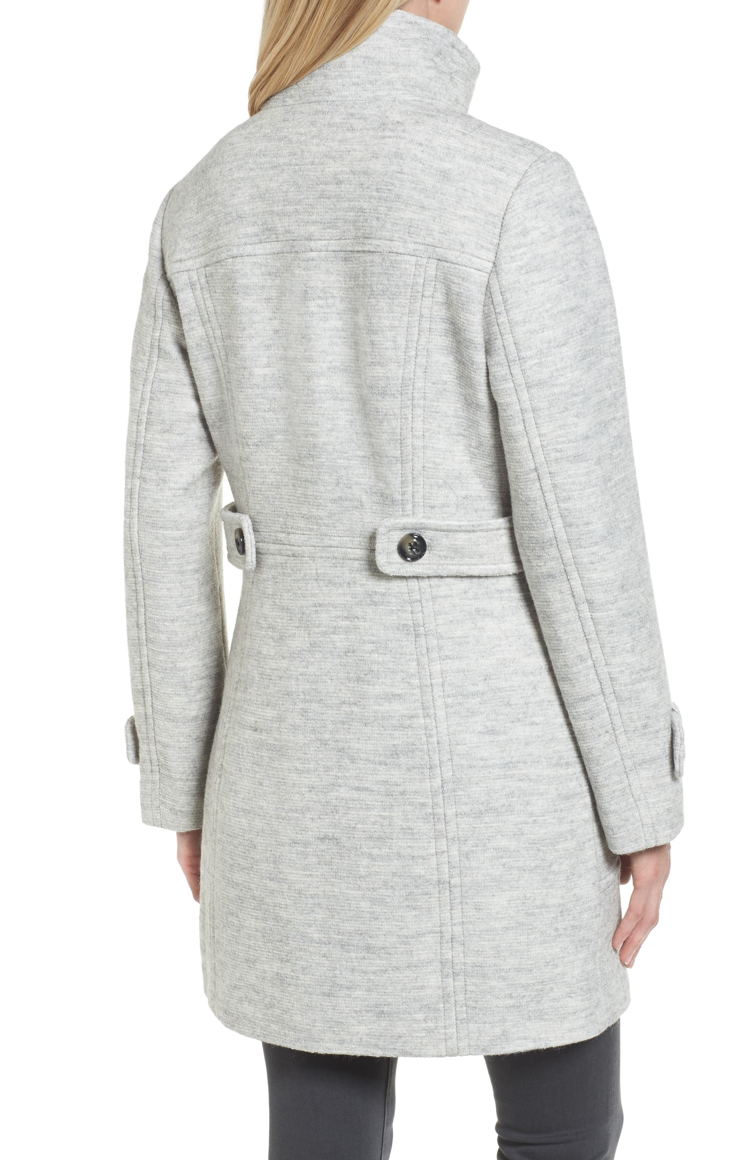 Stand Collar Coat,                             Alternate thumbnail 2, color,                             Pale Grey