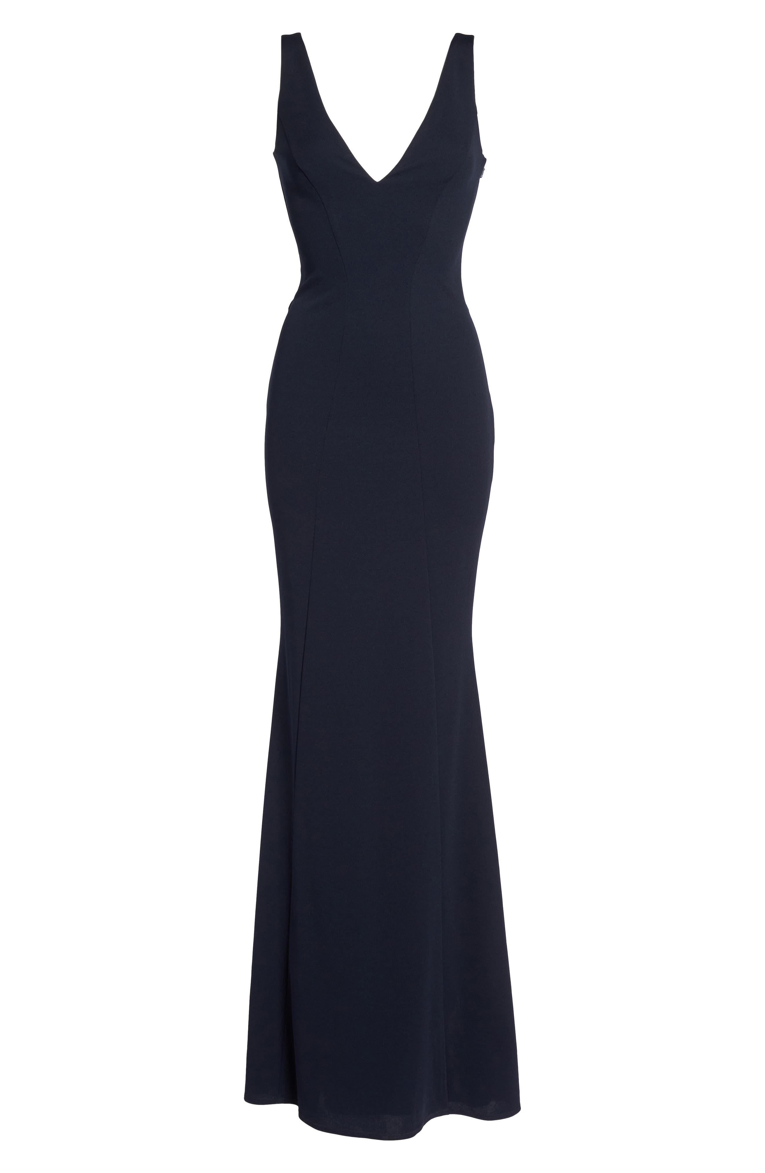 Mischka V-Neck Crepe Gown,                             Alternate thumbnail 6, color,                             Navy