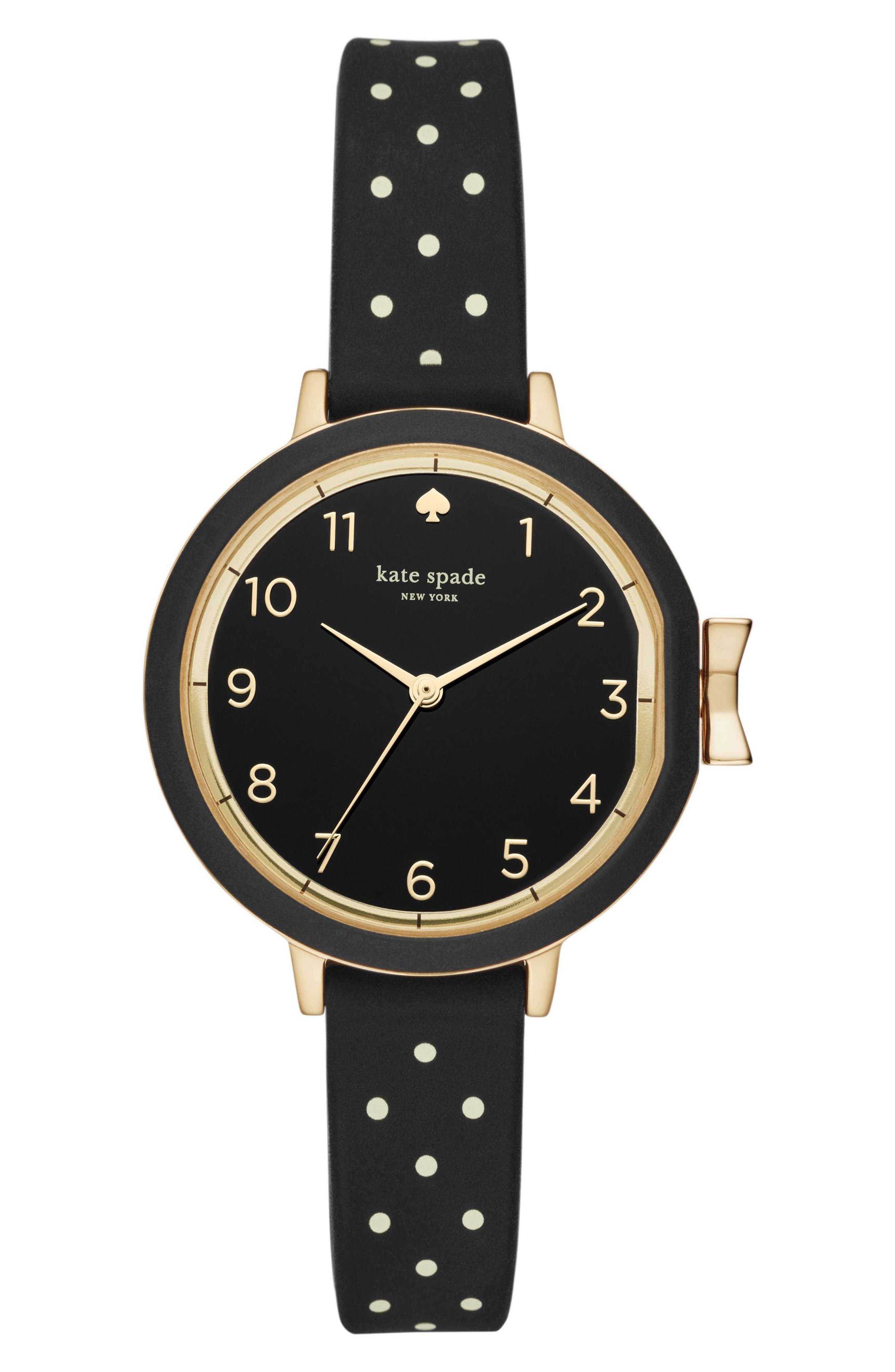 park row silicone strap watch, 34mm,                             Main thumbnail 1, color,                             Black/ Gold