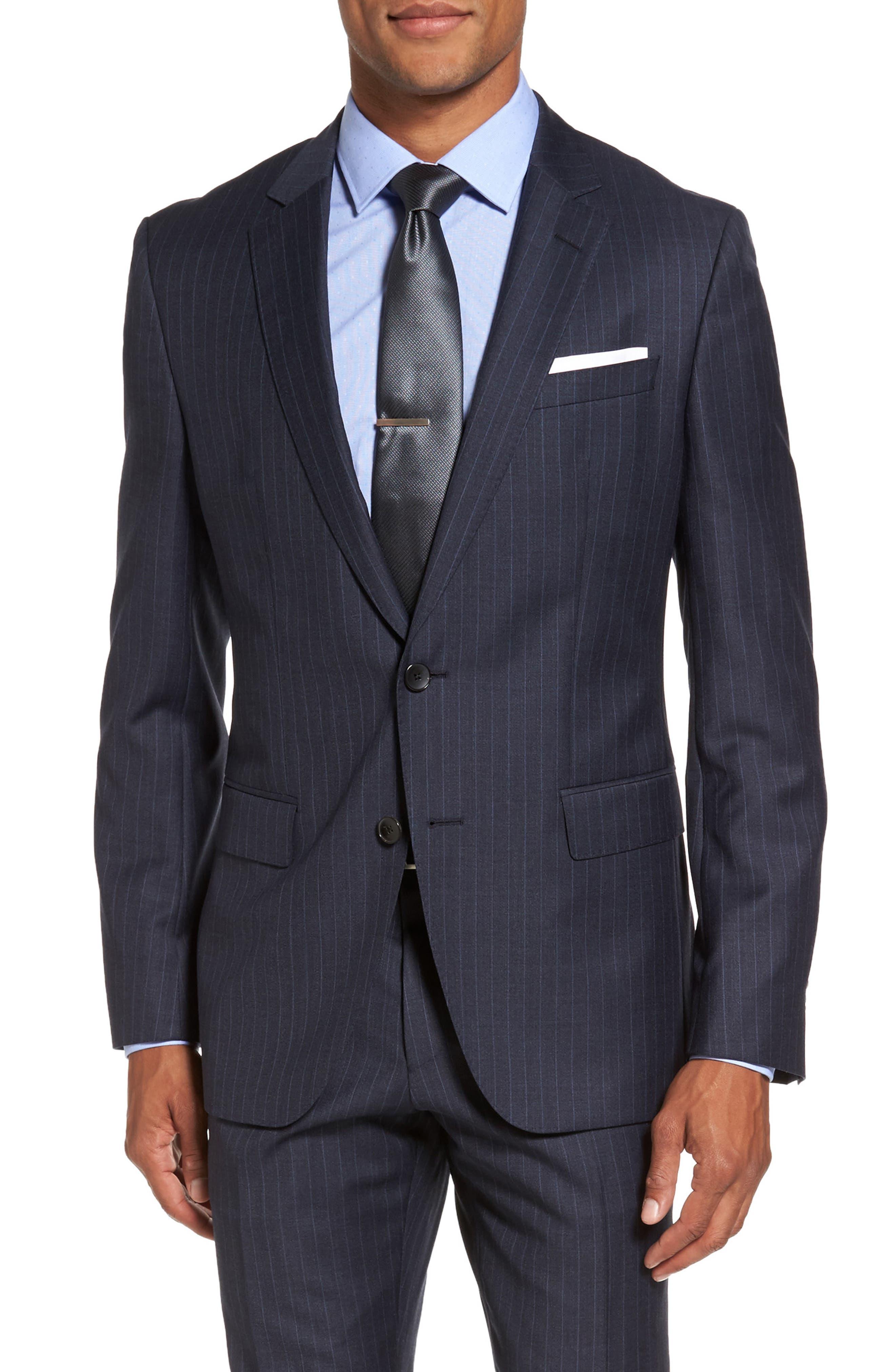Alternate Image 5  - BOSS Huge/Genius Trim Fit Stripe Wool Suit