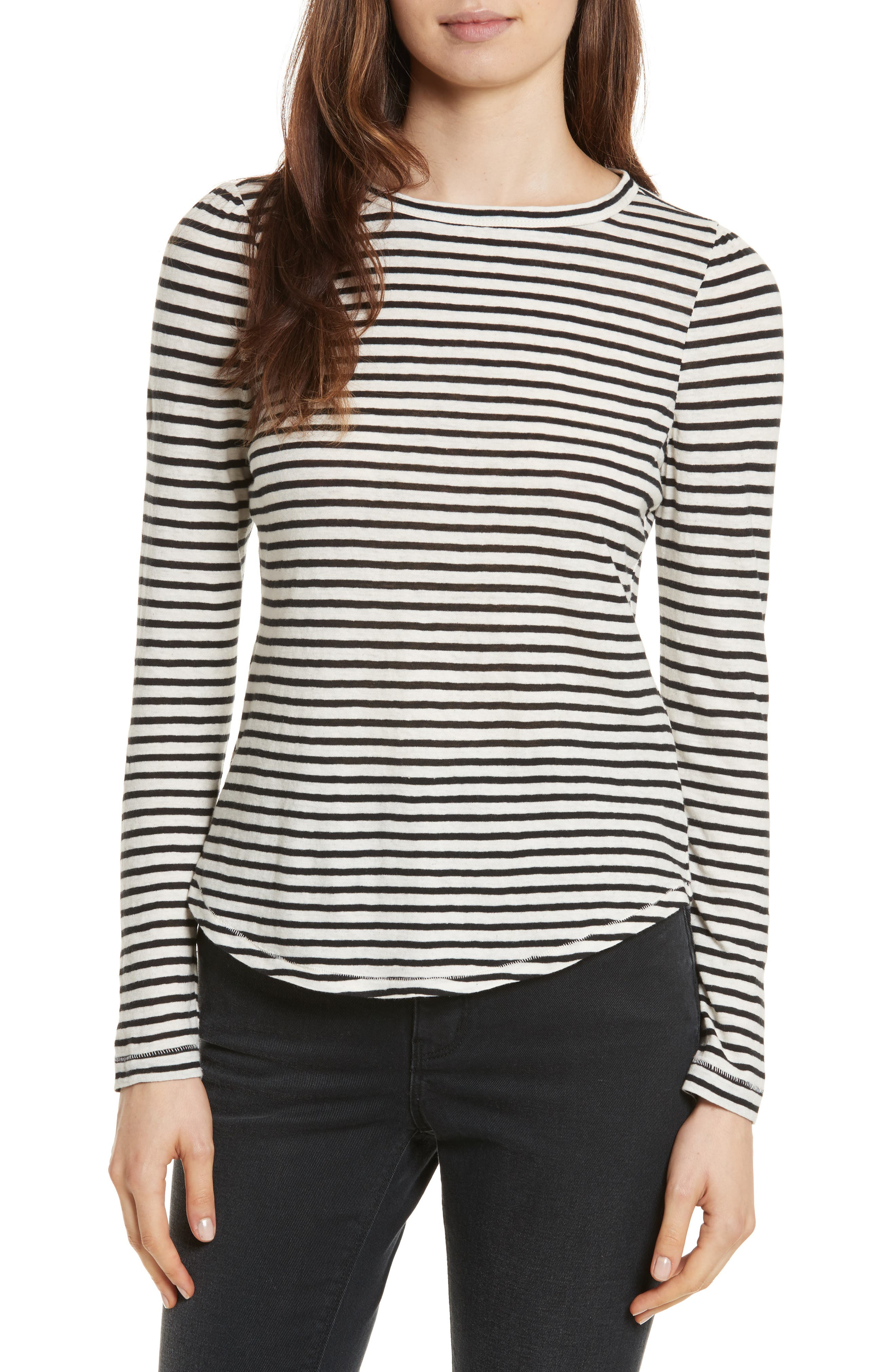 Long Sleeve Stripe Tee,                             Main thumbnail 1, color,                             Chalk/ Black