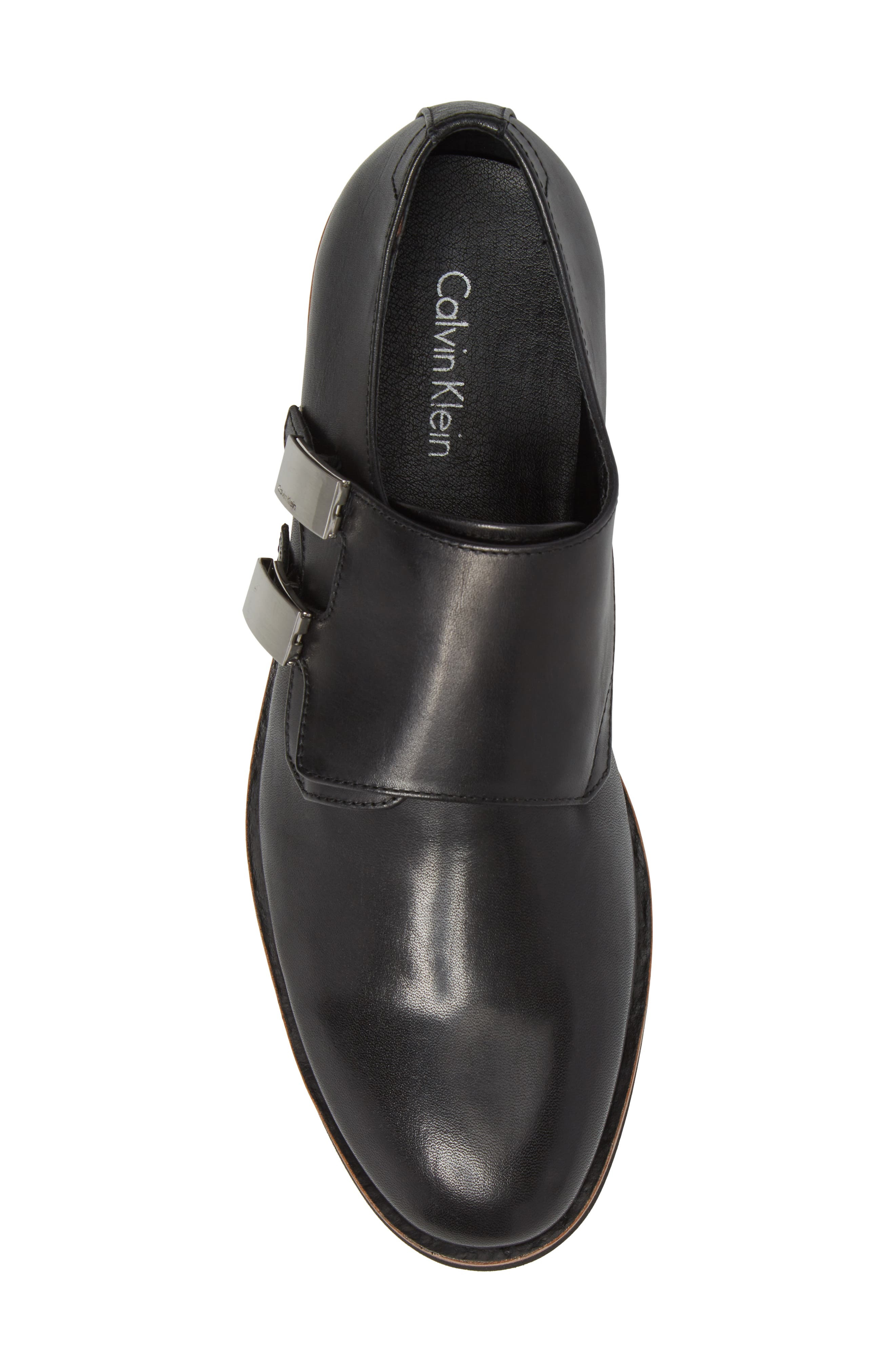 Finnegan Double Monk Strap Shoe,                             Alternate thumbnail 5, color,                             Black Leather
