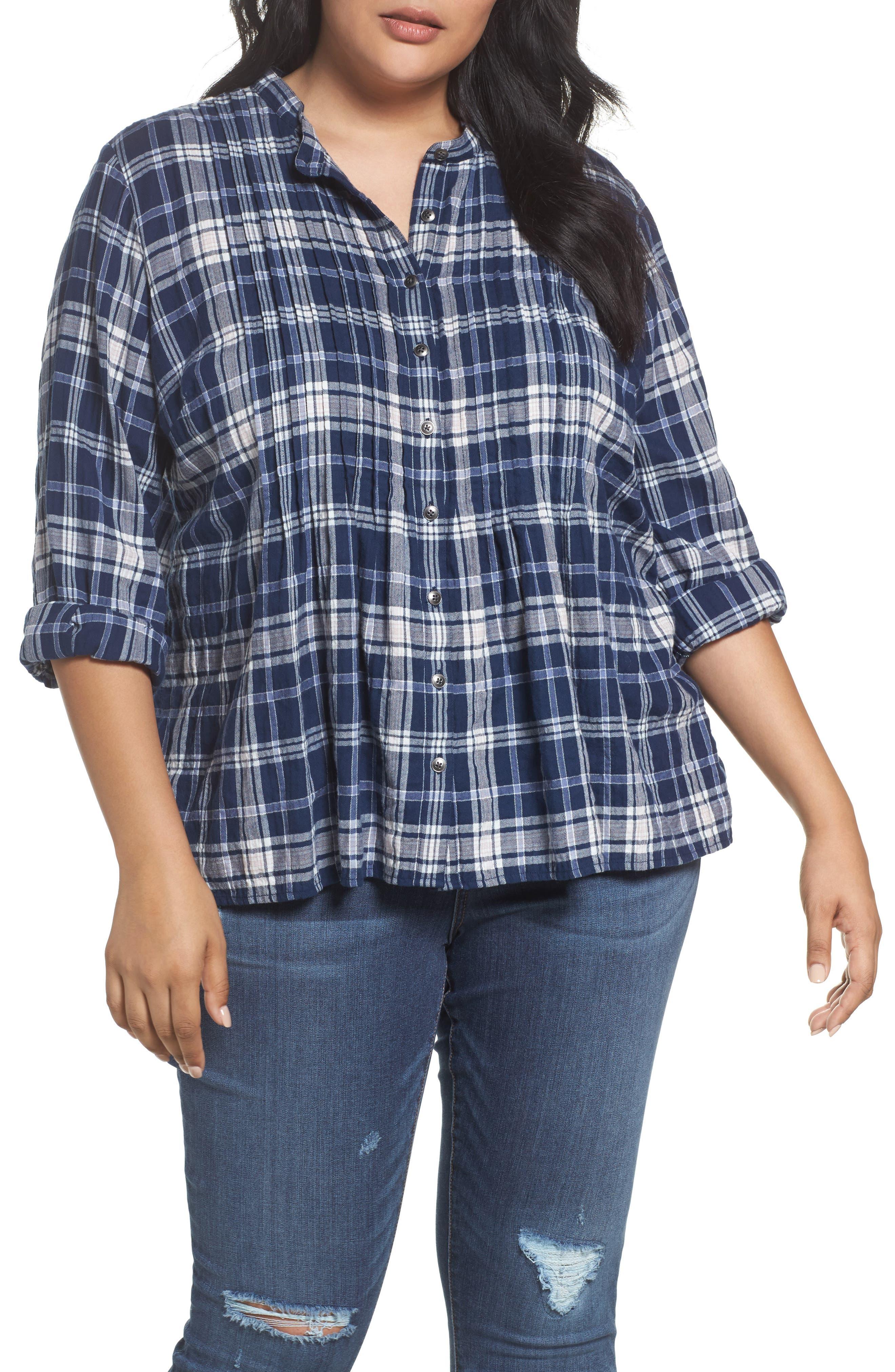 Caslon® Pintuck Pleat Blouse (Plus Size)
