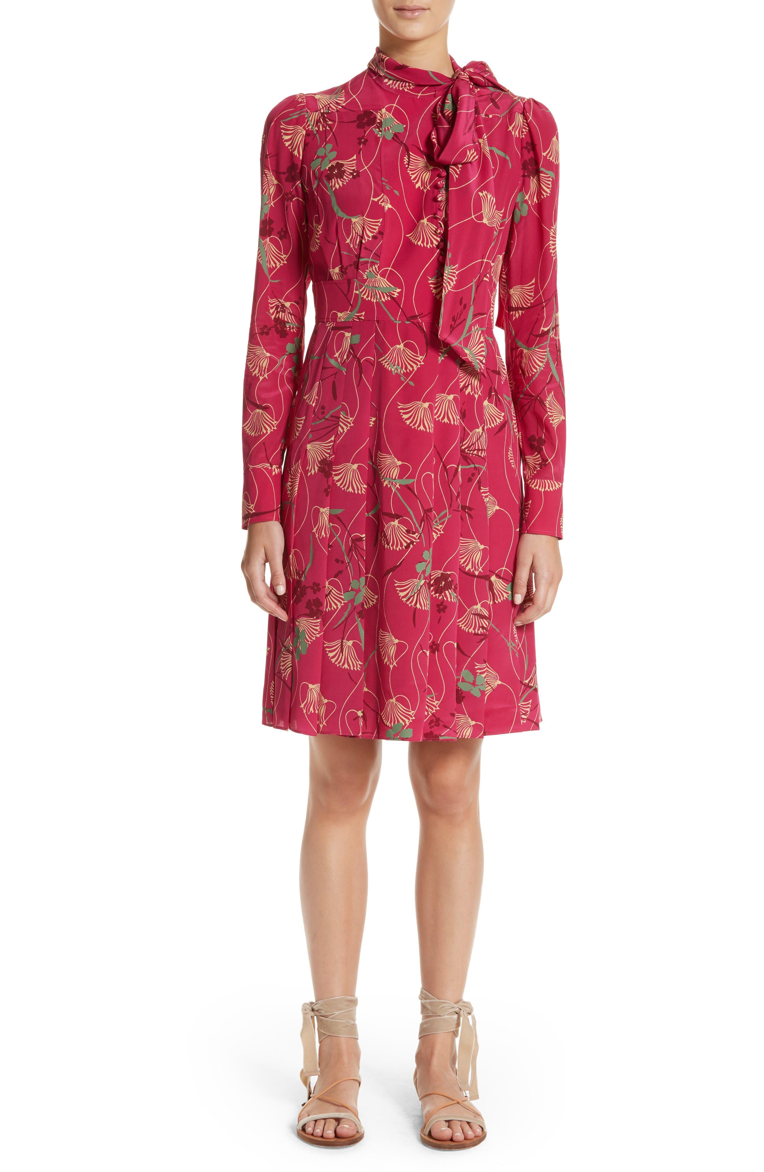 Lotus Print Silk Tie Neck Dress,                             Main thumbnail 1, color,                             Pink