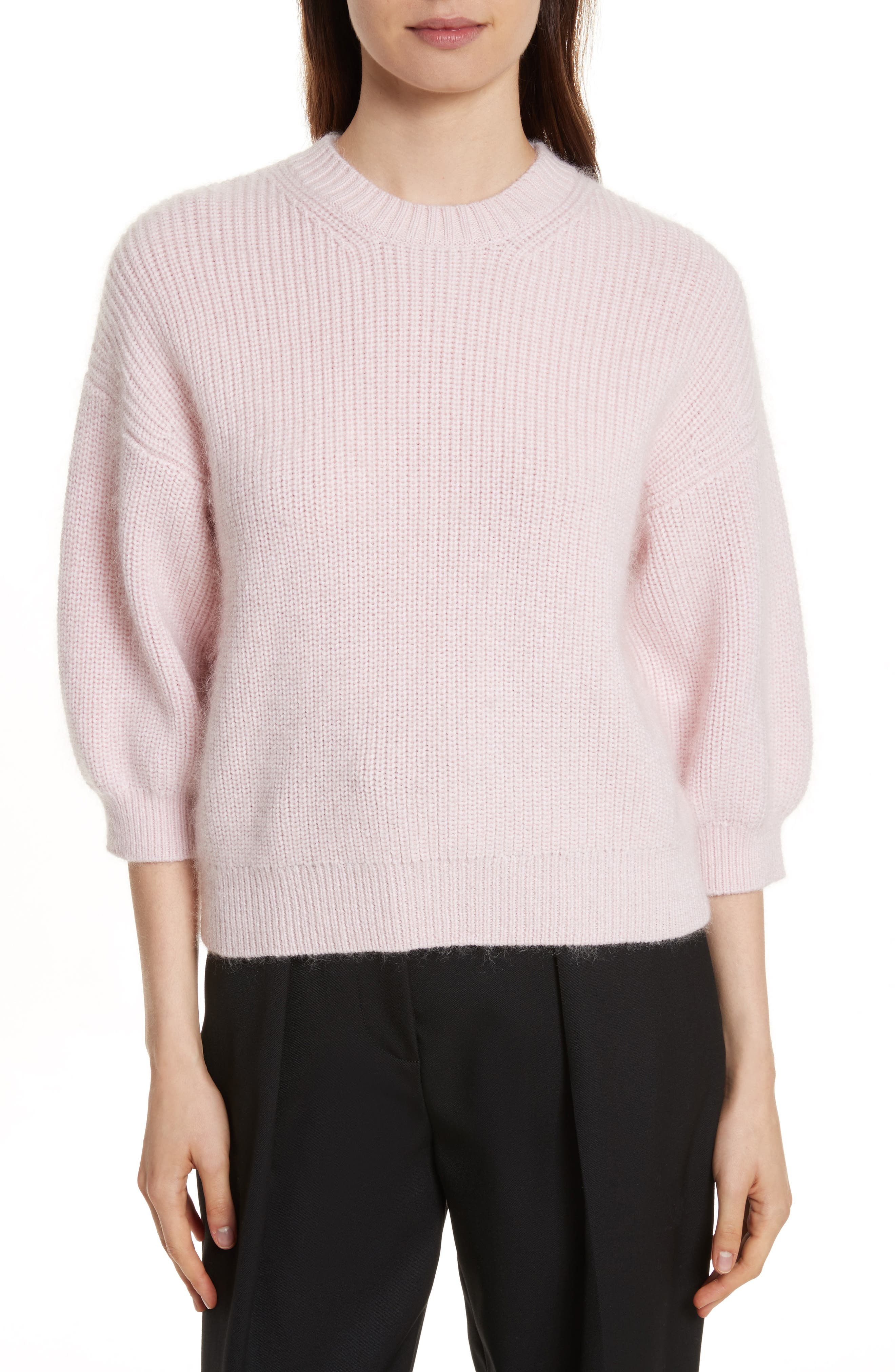 Puff Sleeve Wool & Mohair Blend Sweater,                         Main,                         color, Petal Pink