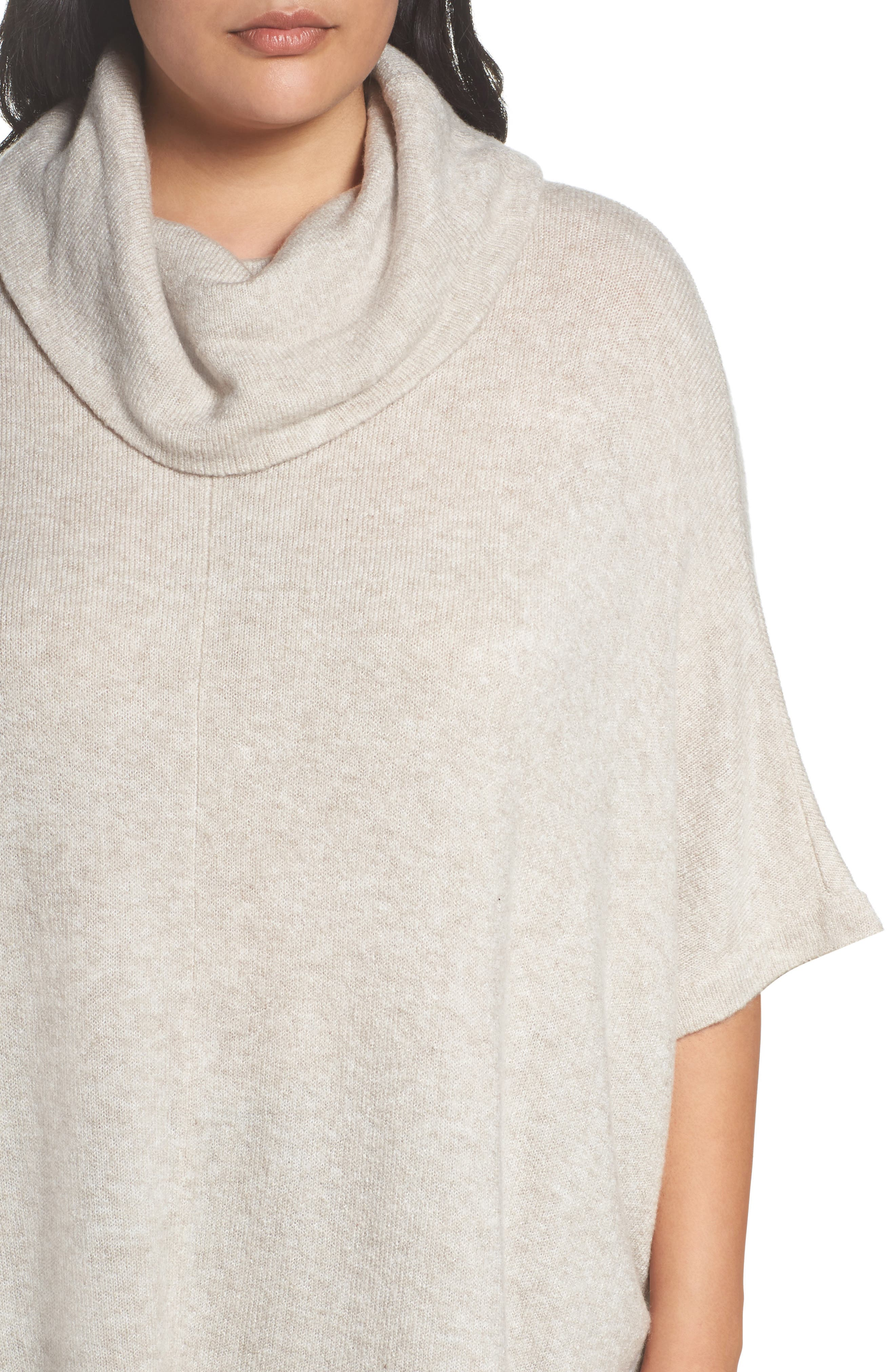 Alternate Image 4  - Caslon® Turtleneck Poncho Sweater (Plus Size)
