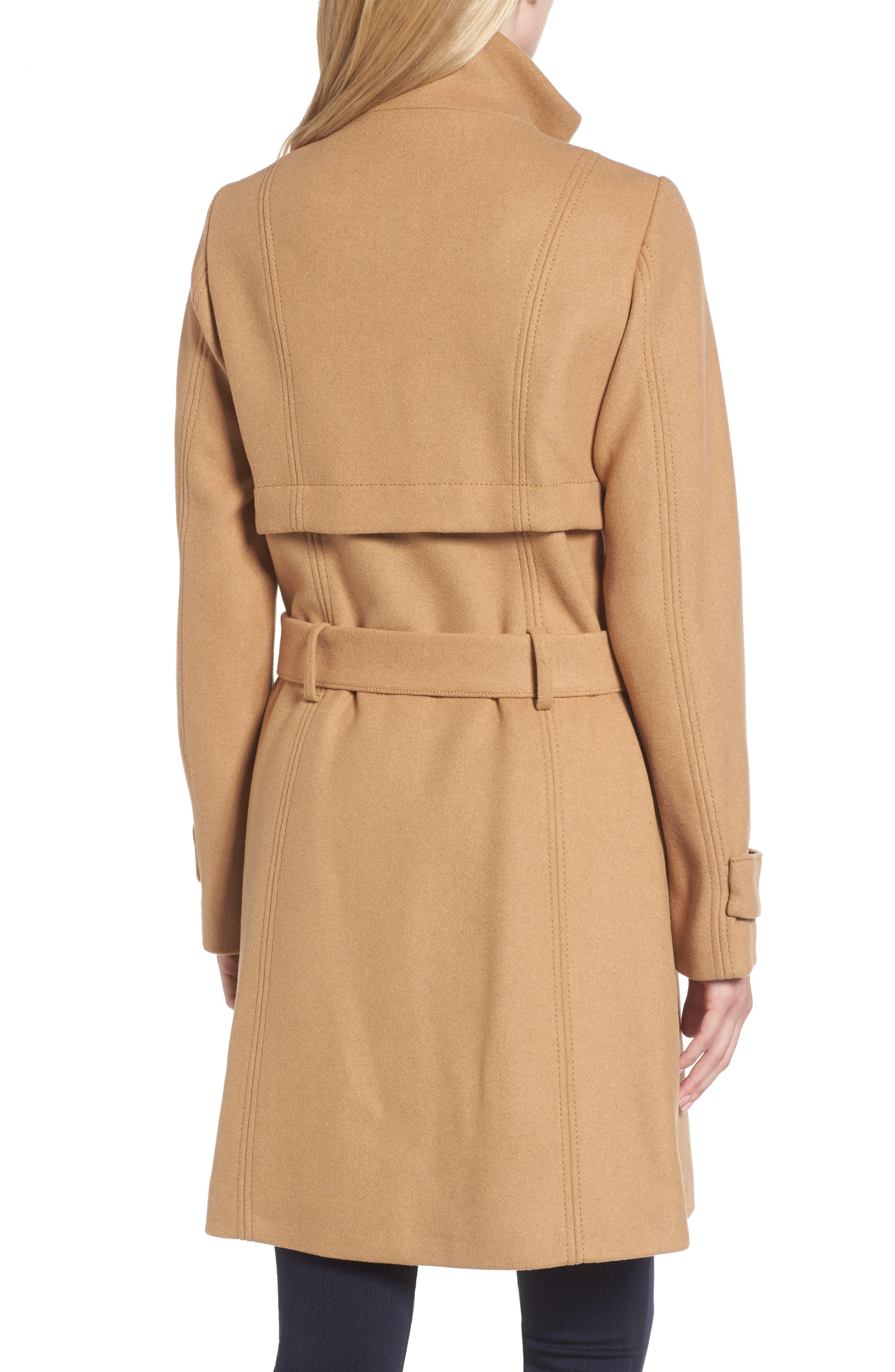 Flange Belted Coat,                             Alternate thumbnail 2, color,                             Camel