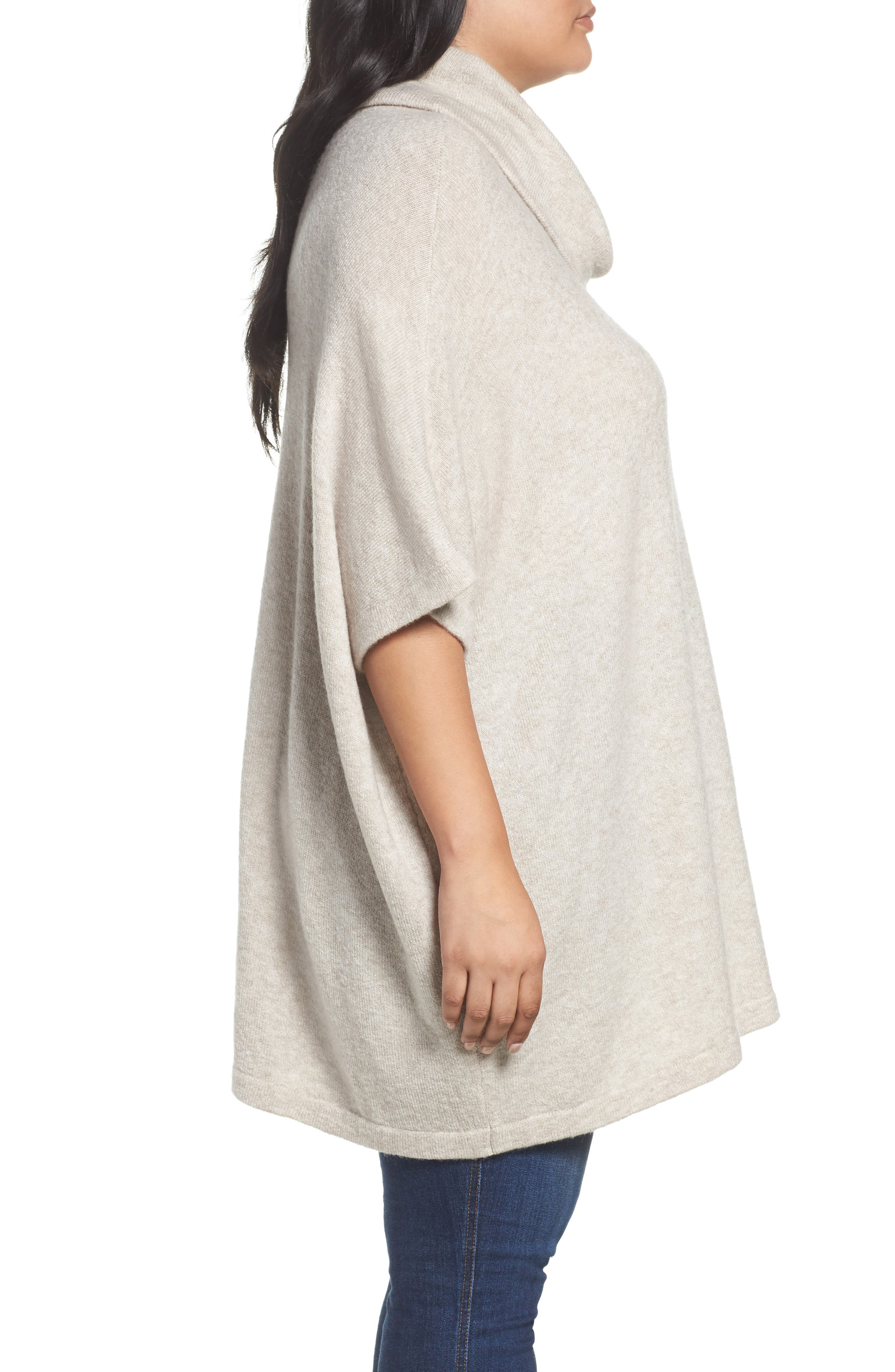 Alternate Image 3  - Caslon® Turtleneck Poncho Sweater (Plus Size)