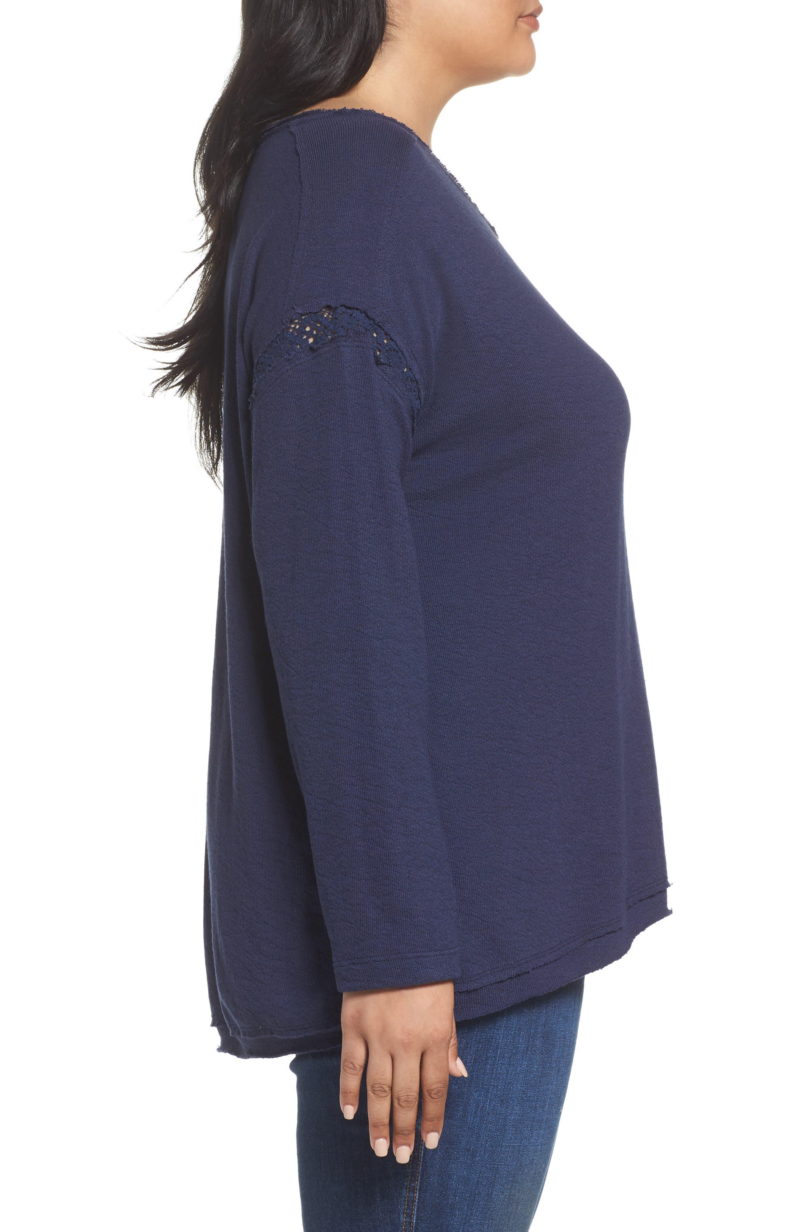 Alternate Image 3  - Caslon Lace Trim Sweatshirt (Plus Size)