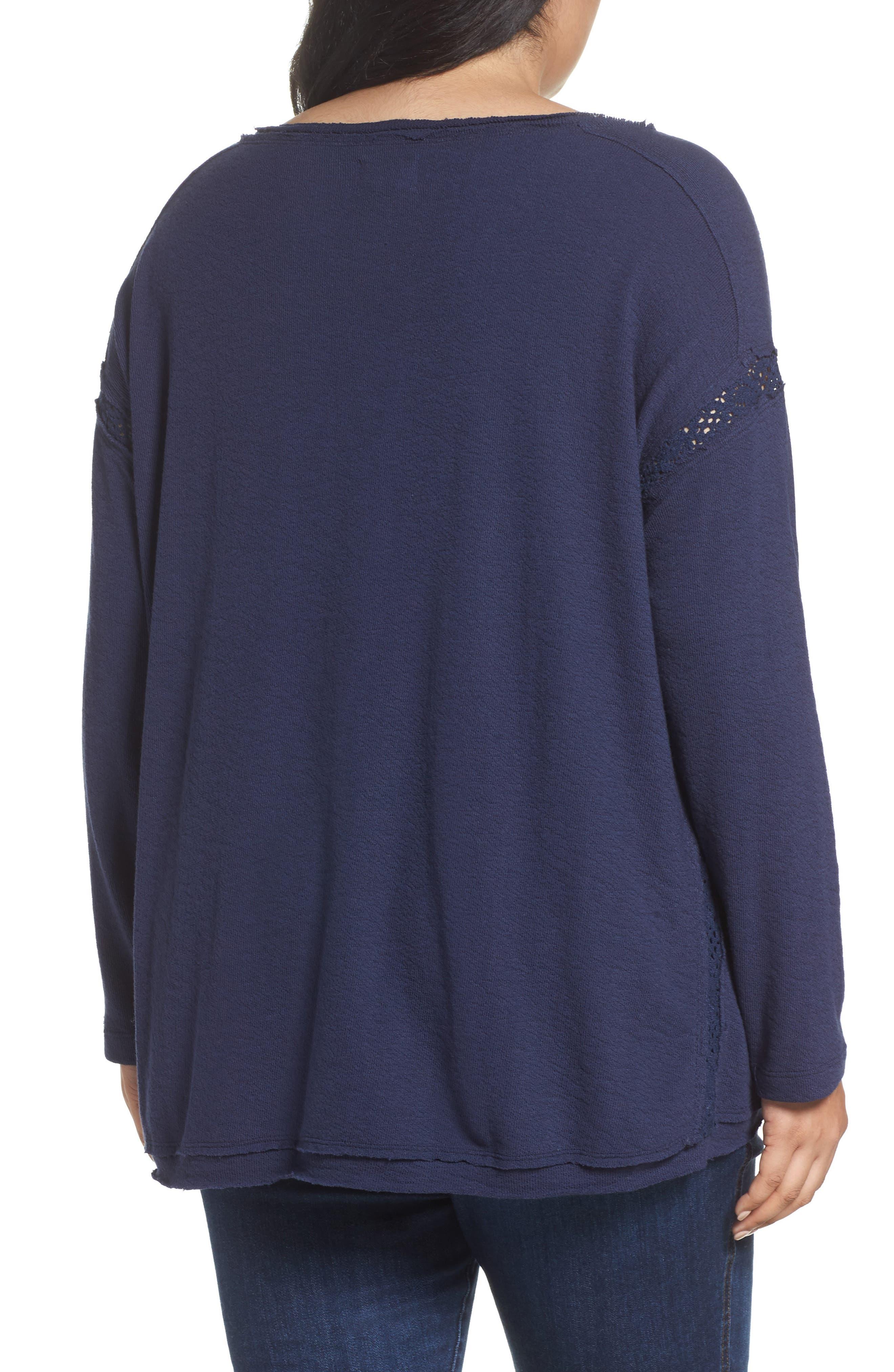 Alternate Image 2  - Caslon Lace Trim Sweatshirt (Plus Size)