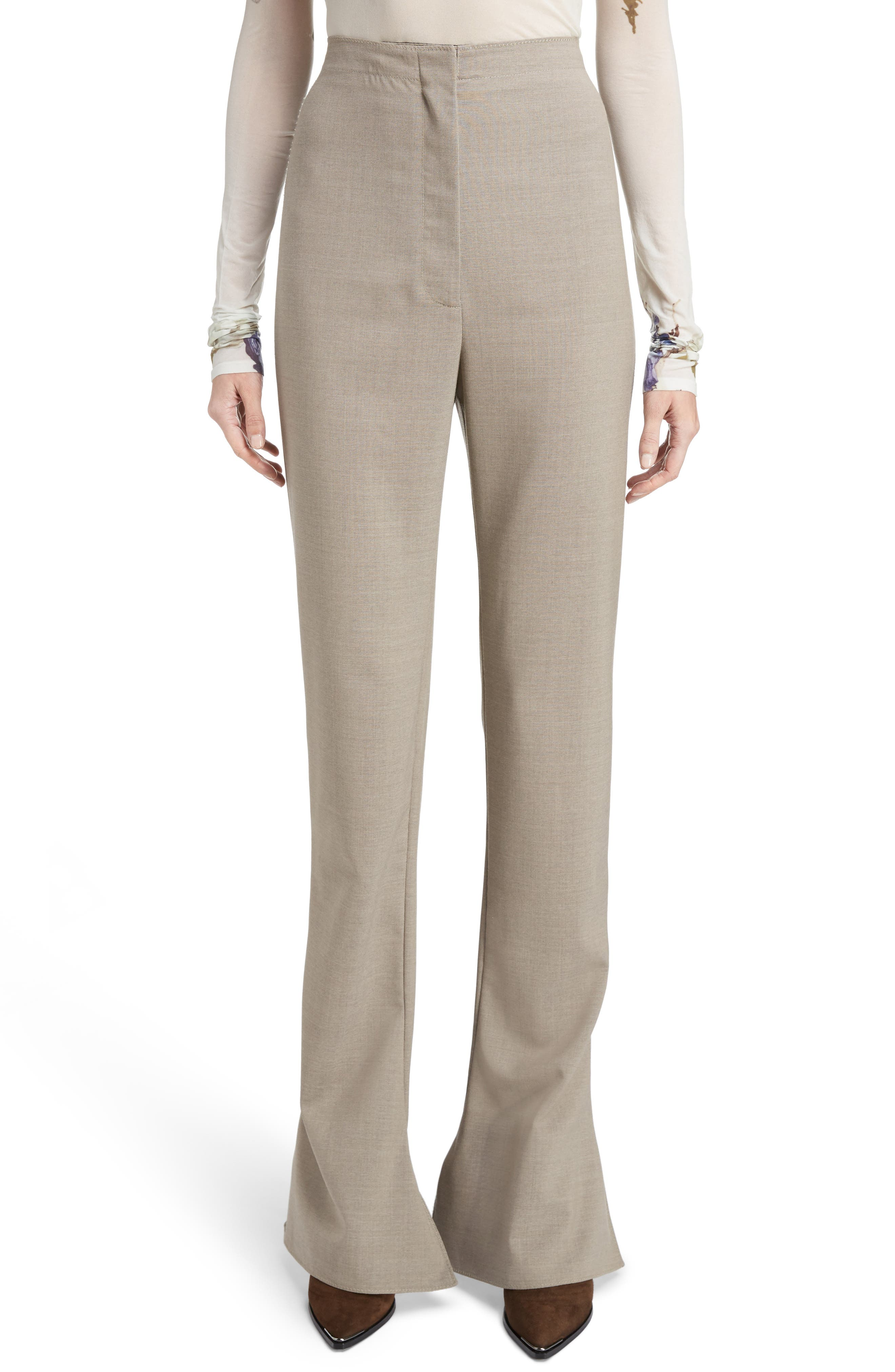 Toni Fluid Wide Leg Wool Pants,                         Main,                         color, Cold Beige