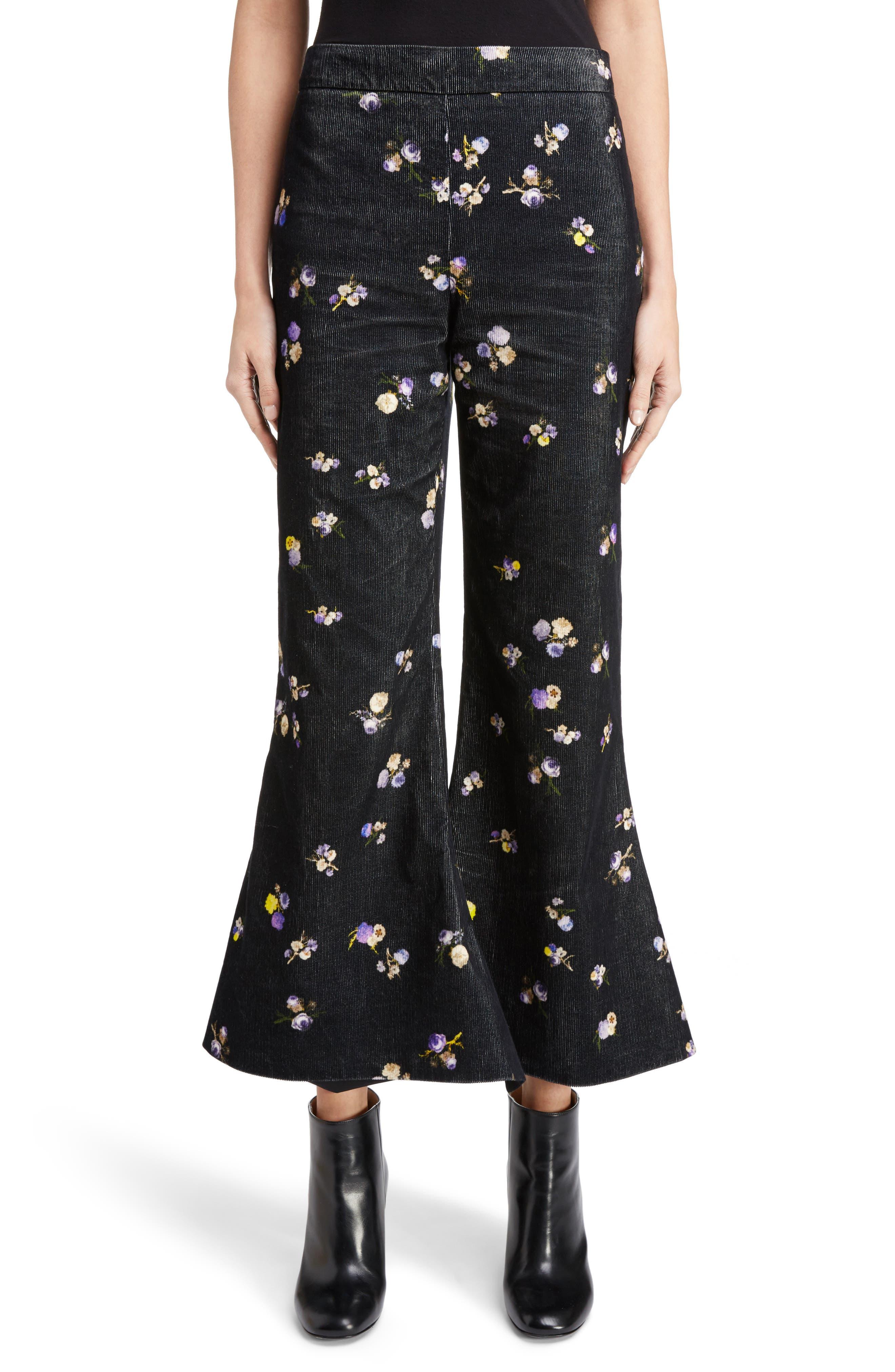 Tyme Floral Corduroy Wide Leg Pants,                         Main,                         color, Small Flower Black