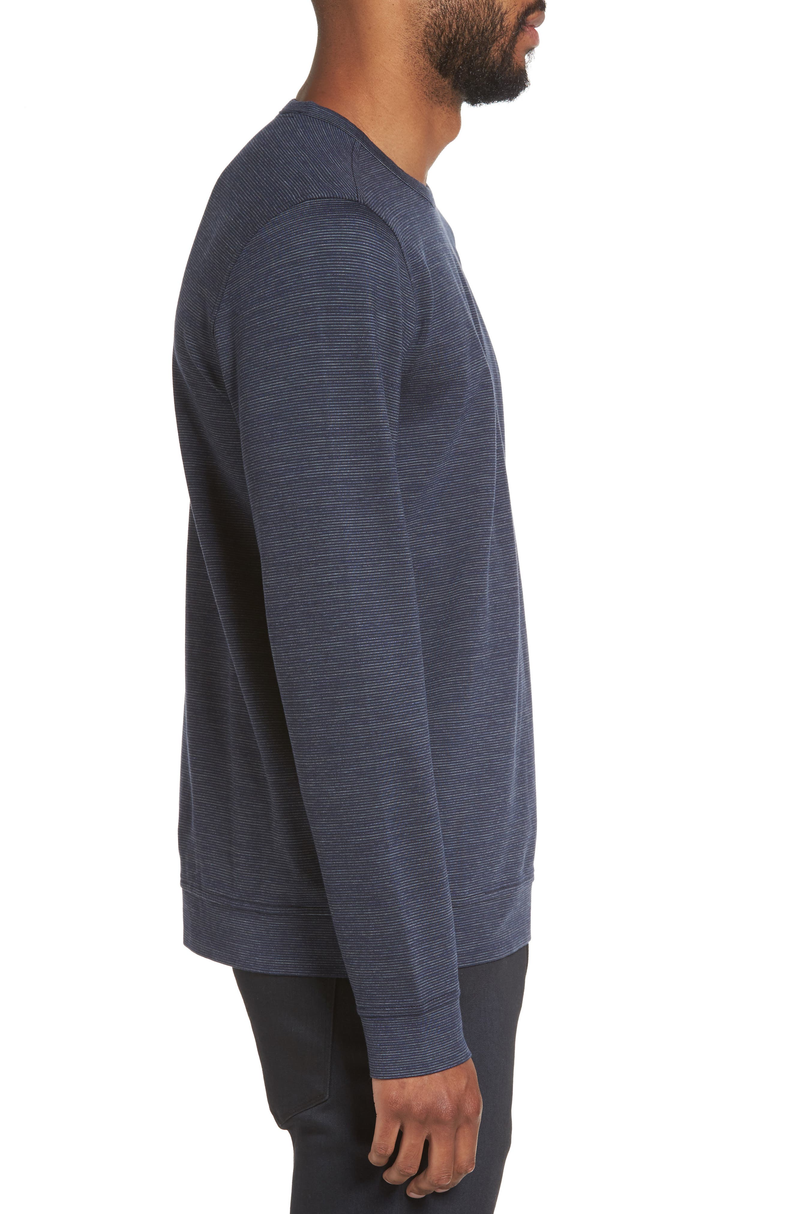 Space Dye Stripe Sweatshirt,                             Alternate thumbnail 3, color,                             Navy Night Spacedye