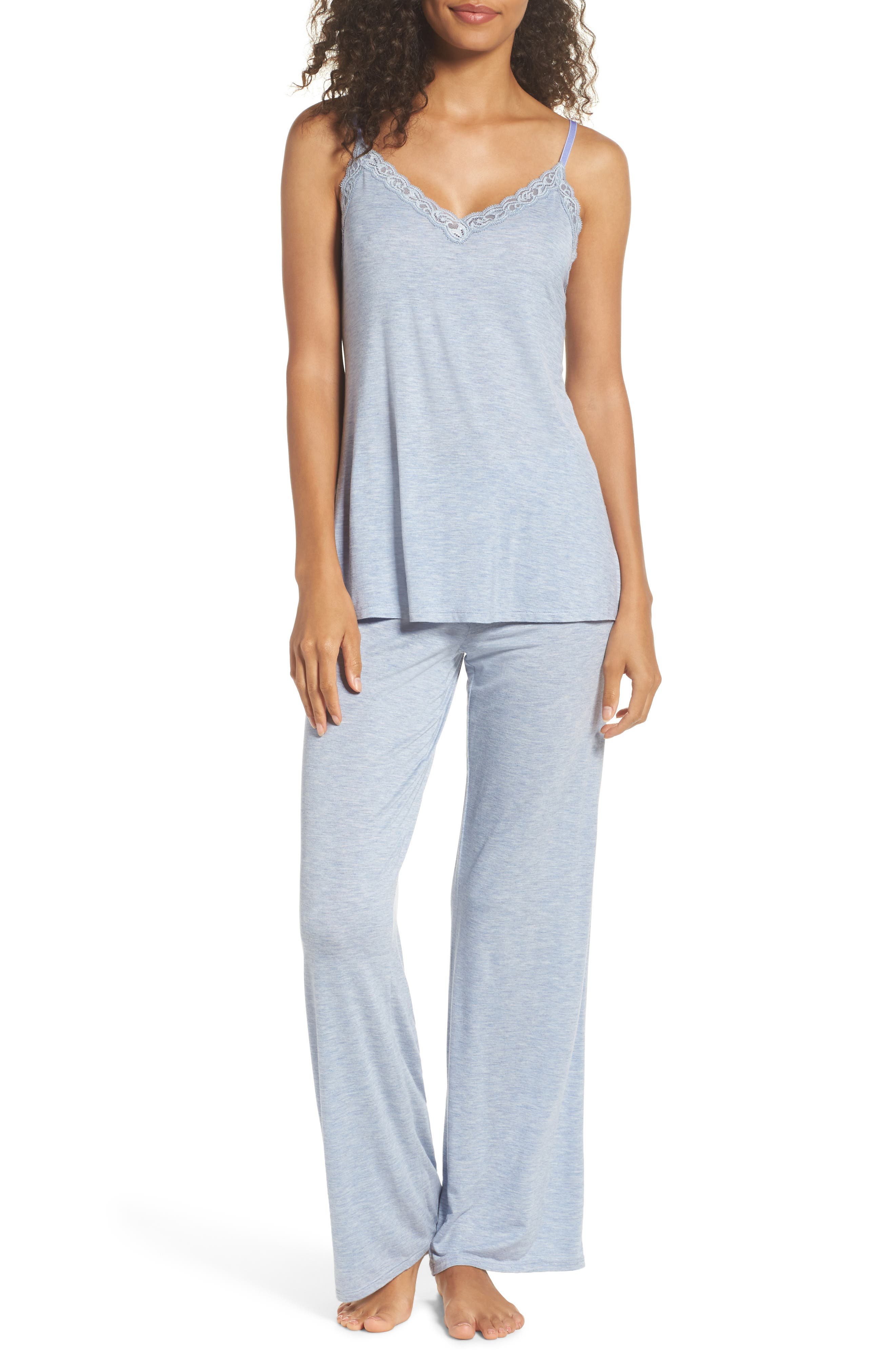 Feather Knit Pajamas,                         Main,                         color, Ink