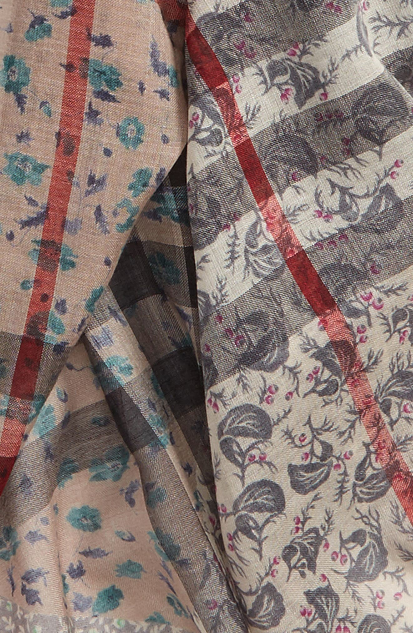 Patchwork Floral & Check Wool & Silk Scarf,                             Alternate thumbnail 4, color,                             Slate Blue