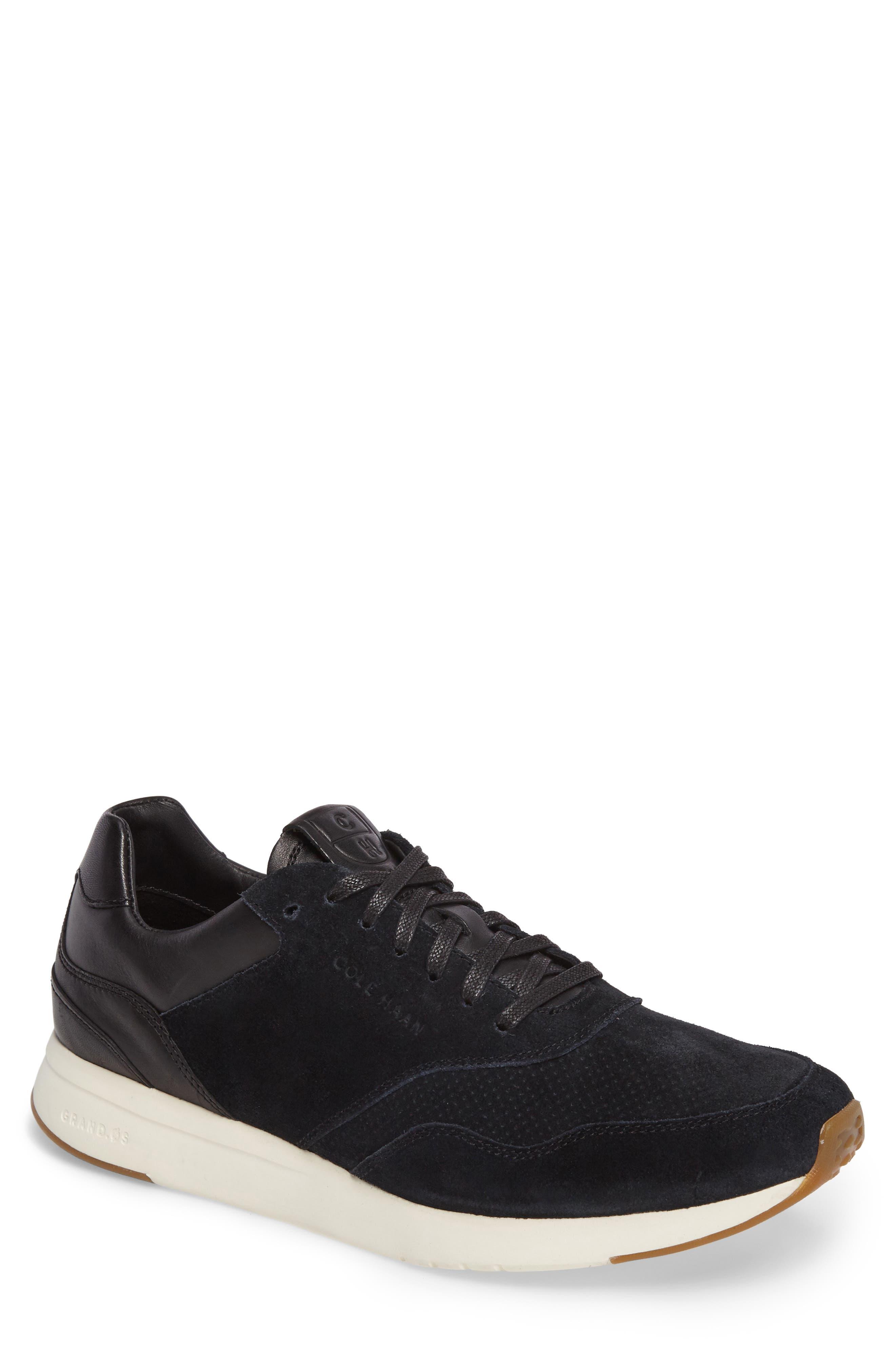 GrandPro Runner Sneaker,                         Main,                         color, Black Leather